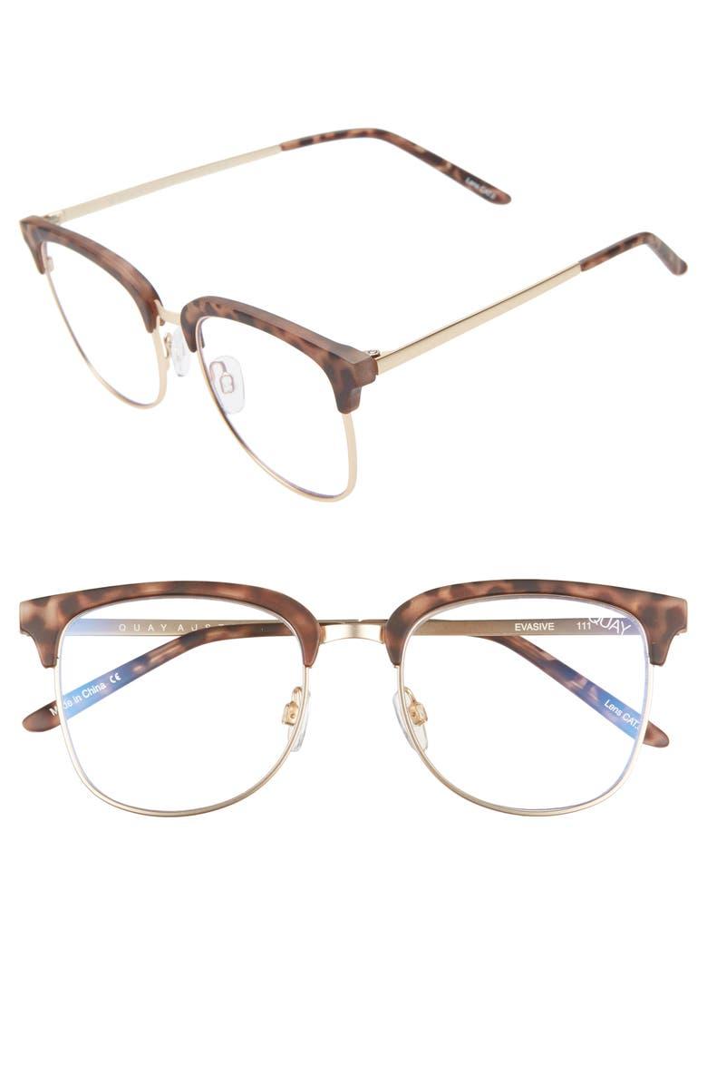 Quay Glasses EVASIVE 52MM BLUE LIGHT BLOCKING GLASSES - TORTOISE/ GOLD