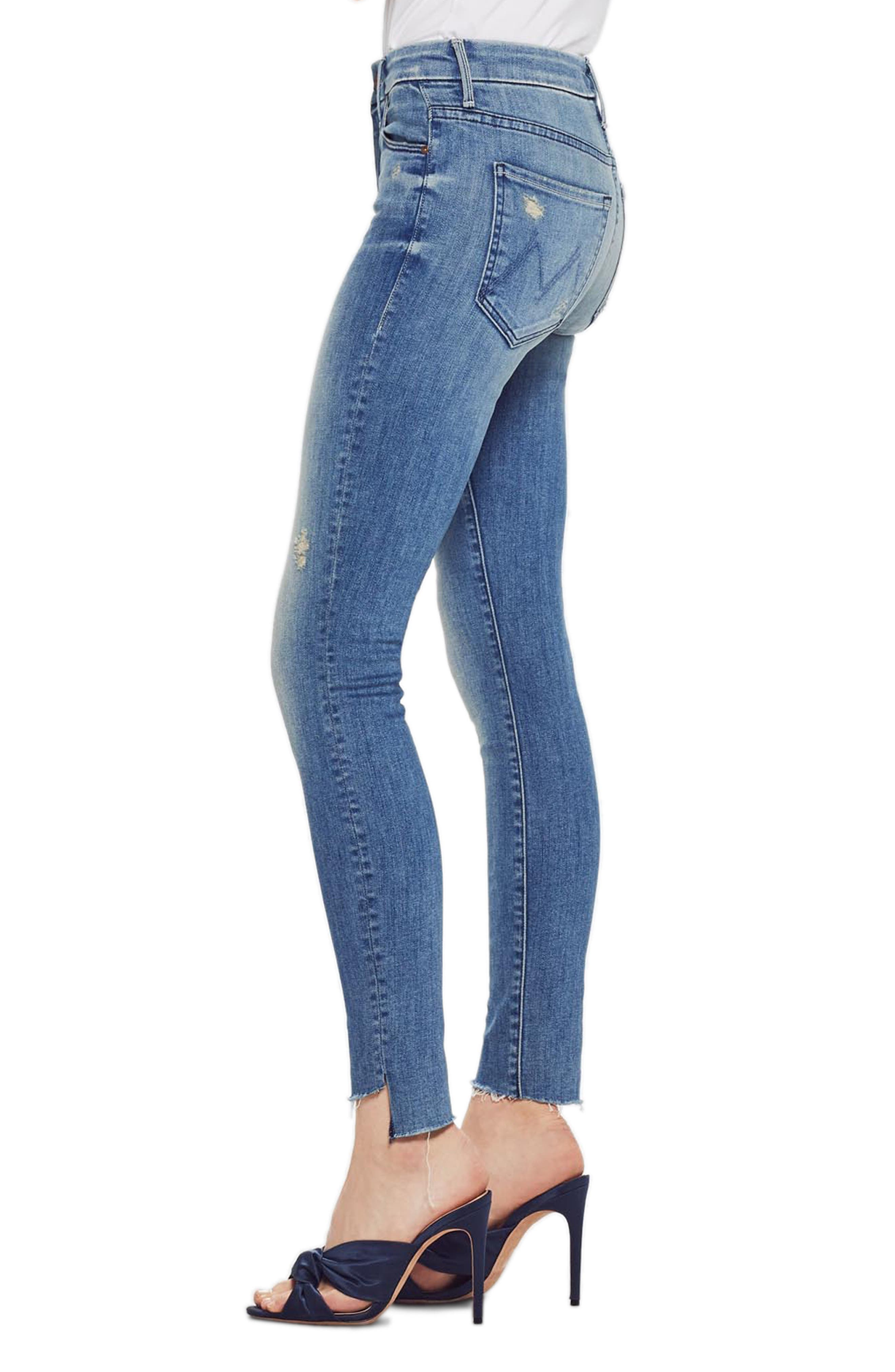 MOTHER, The Looker Frayed Step Hem Ankle Skinny Jeans, Alternate thumbnail 4, color, WHERE THERES SMOKE