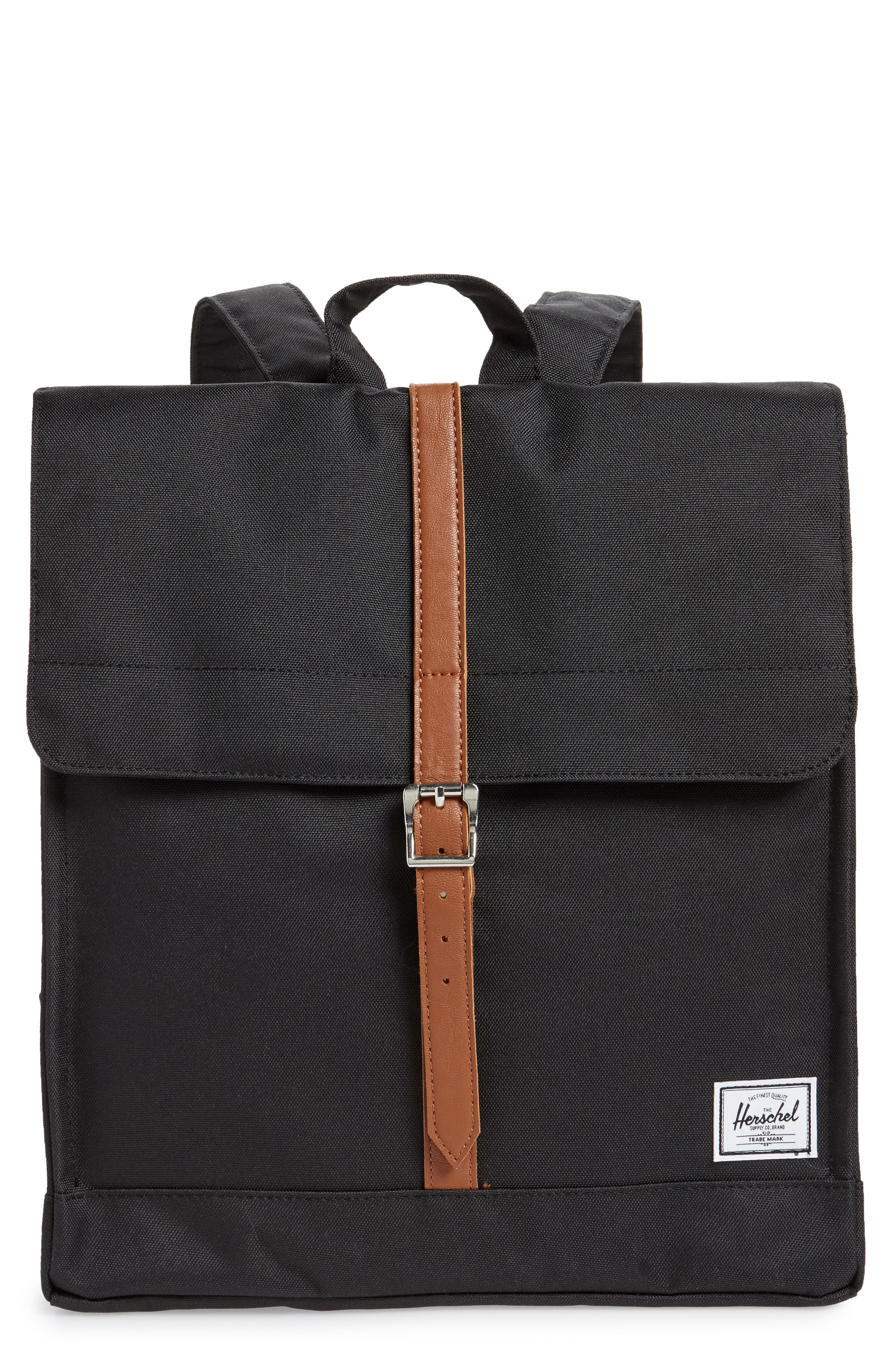 HERSCHEL SUPPLY CO., City Mid Volume Backpack, Main thumbnail 1, color, BLACK/ TAN SYNTHETIC LEATHER