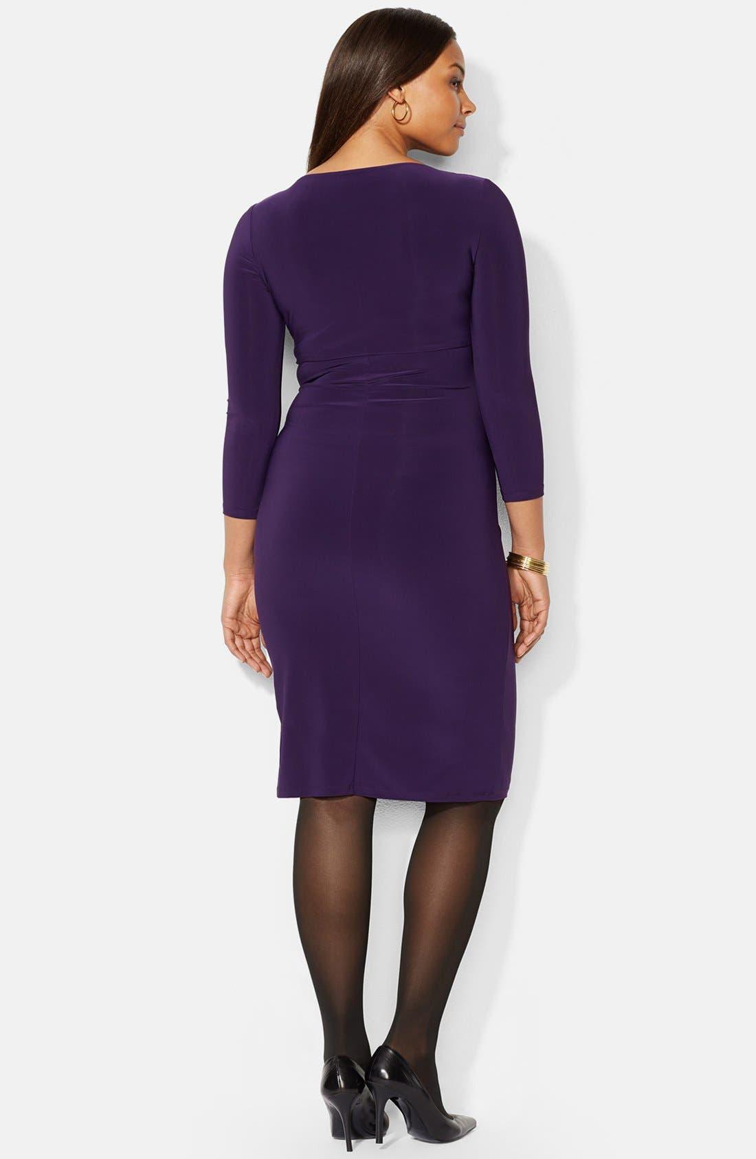 LAUREN RALPH LAUREN, Faux Wrap Matte Jersey Dress, Alternate thumbnail 2, color, 501