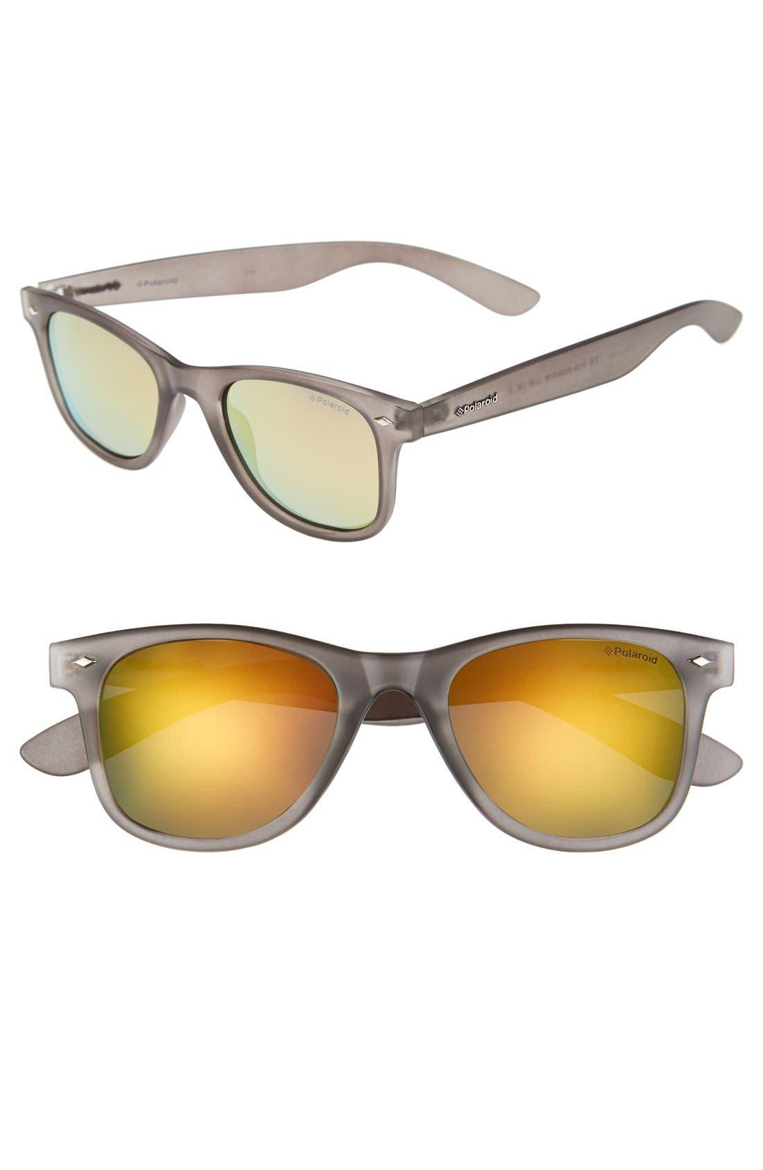 POLAROID EYEWEAR, '6009SM' 50mm Polarized Retro Sunglasses, Main thumbnail 1, color, 020