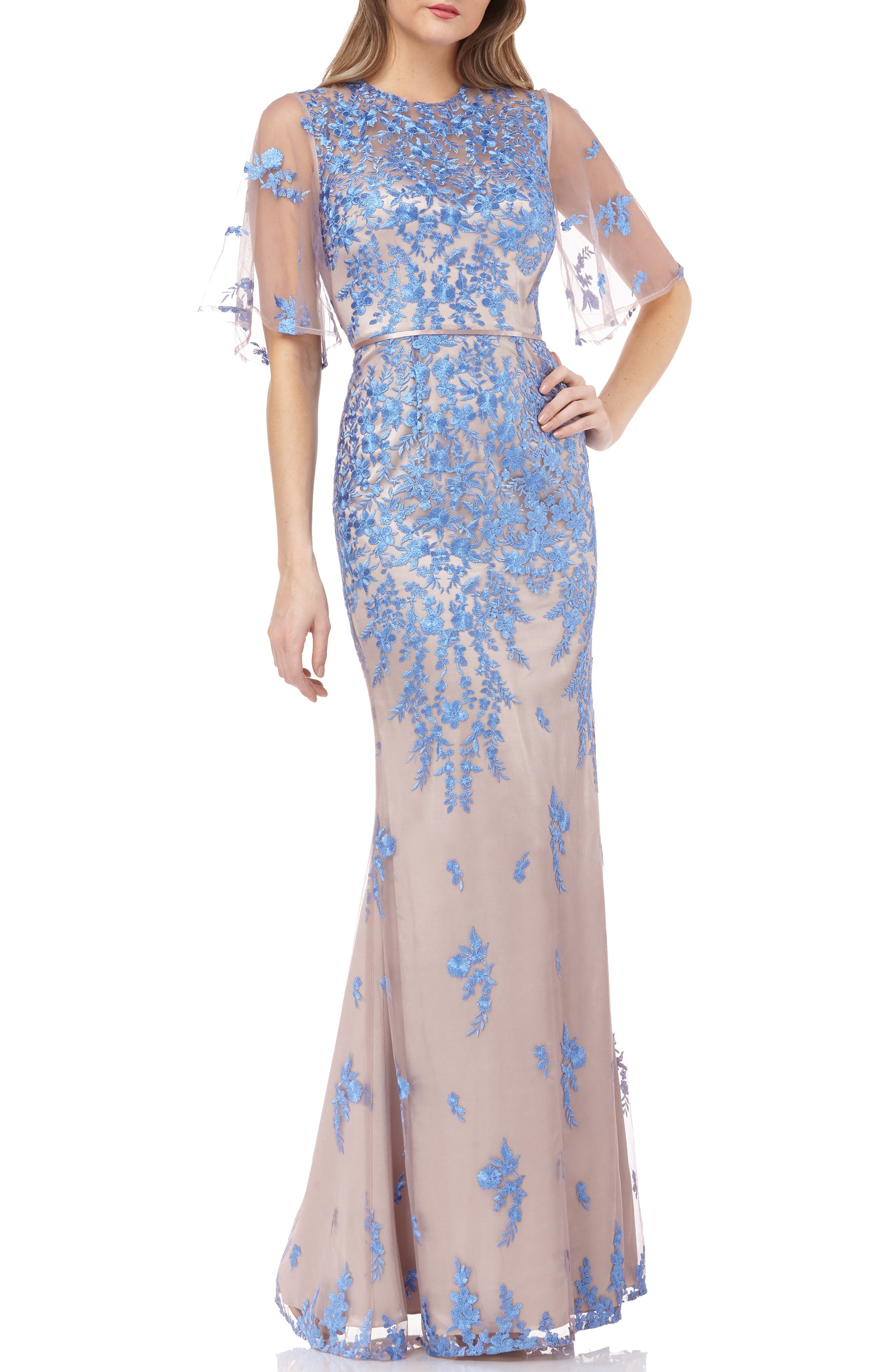 Js Collections Floral Embroidered Evening Dress, Blue