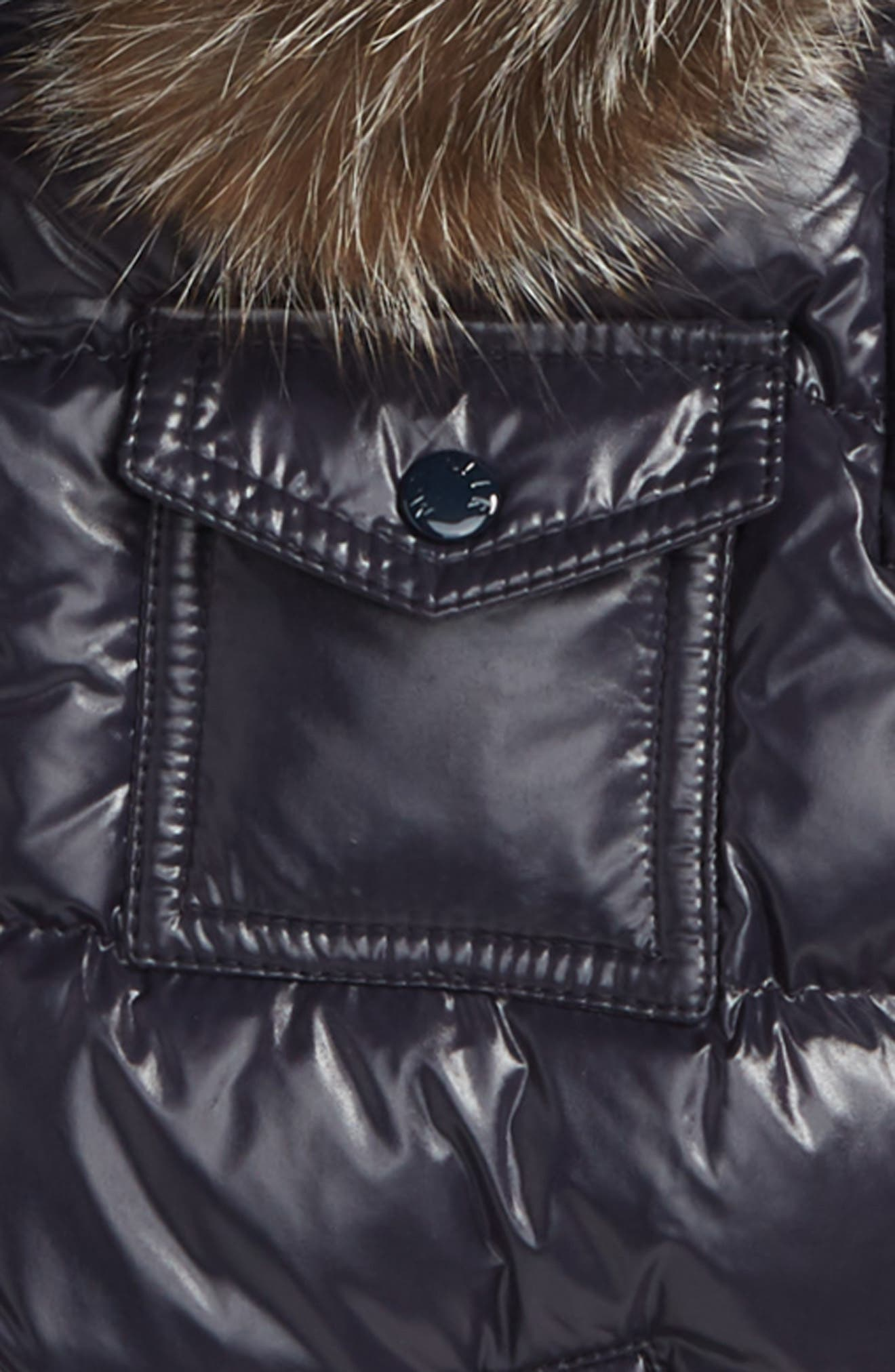 MONCLER, K2 Water Resistant Hooded Down Jacket with Genuine Fox Fur Trim, Alternate thumbnail 2, color, NAVY