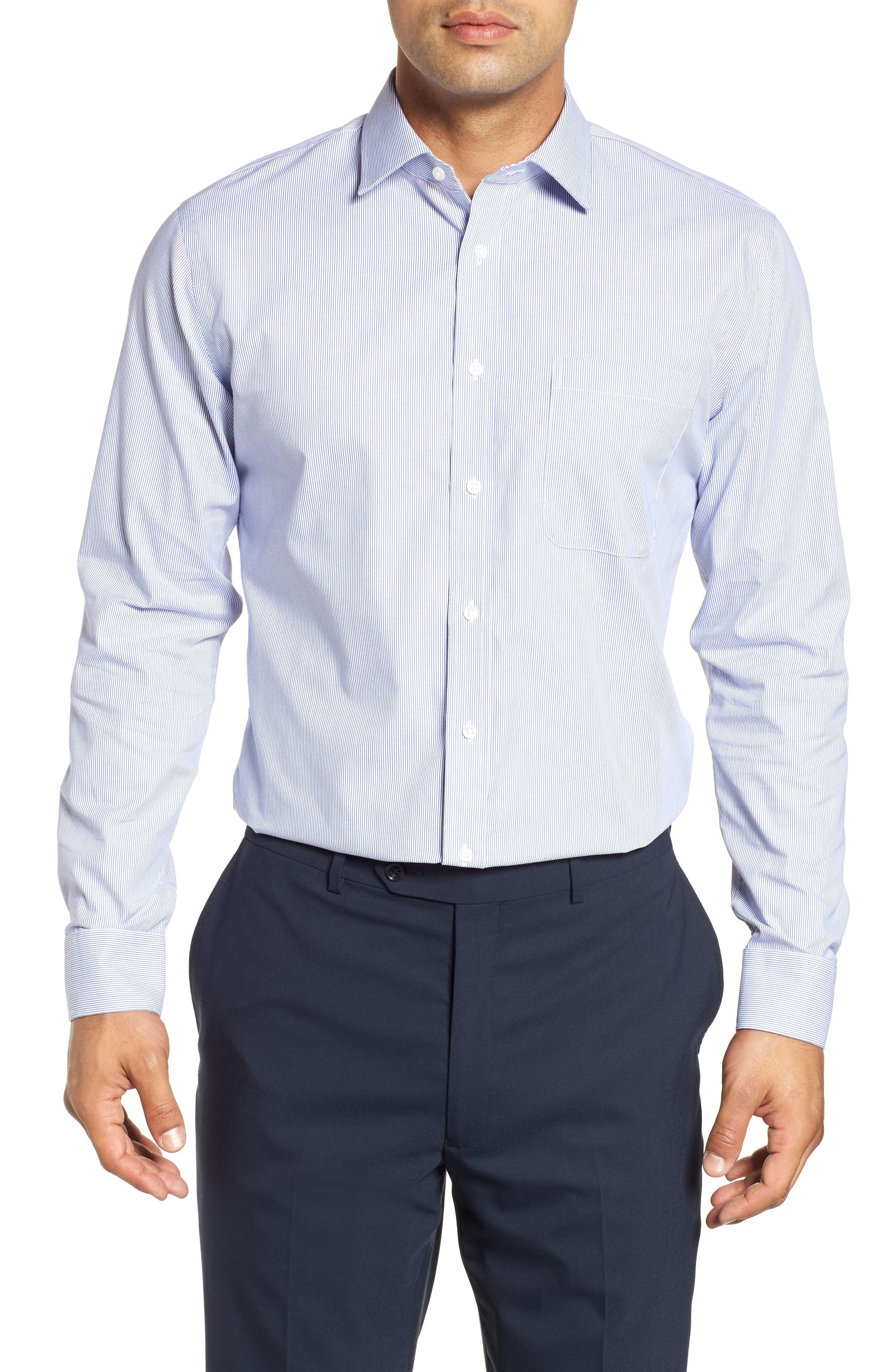 NORDSTROM MEN'S SHOP, Trim Fit Non-Iron Stripe Dress Shirt, Main thumbnail 1, color, NAVY PATRIOT