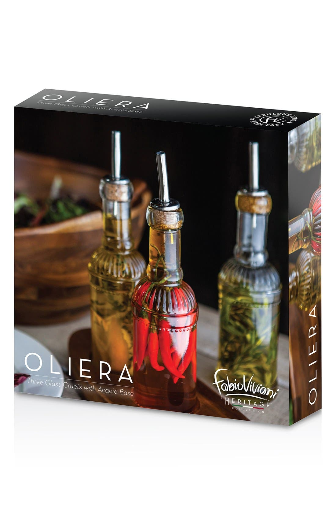 PICNIC TIME, 'Legacy Heritage Collection by Fabio Viviani - Oliera' Bottle Set, Alternate thumbnail 4, color, BROWN