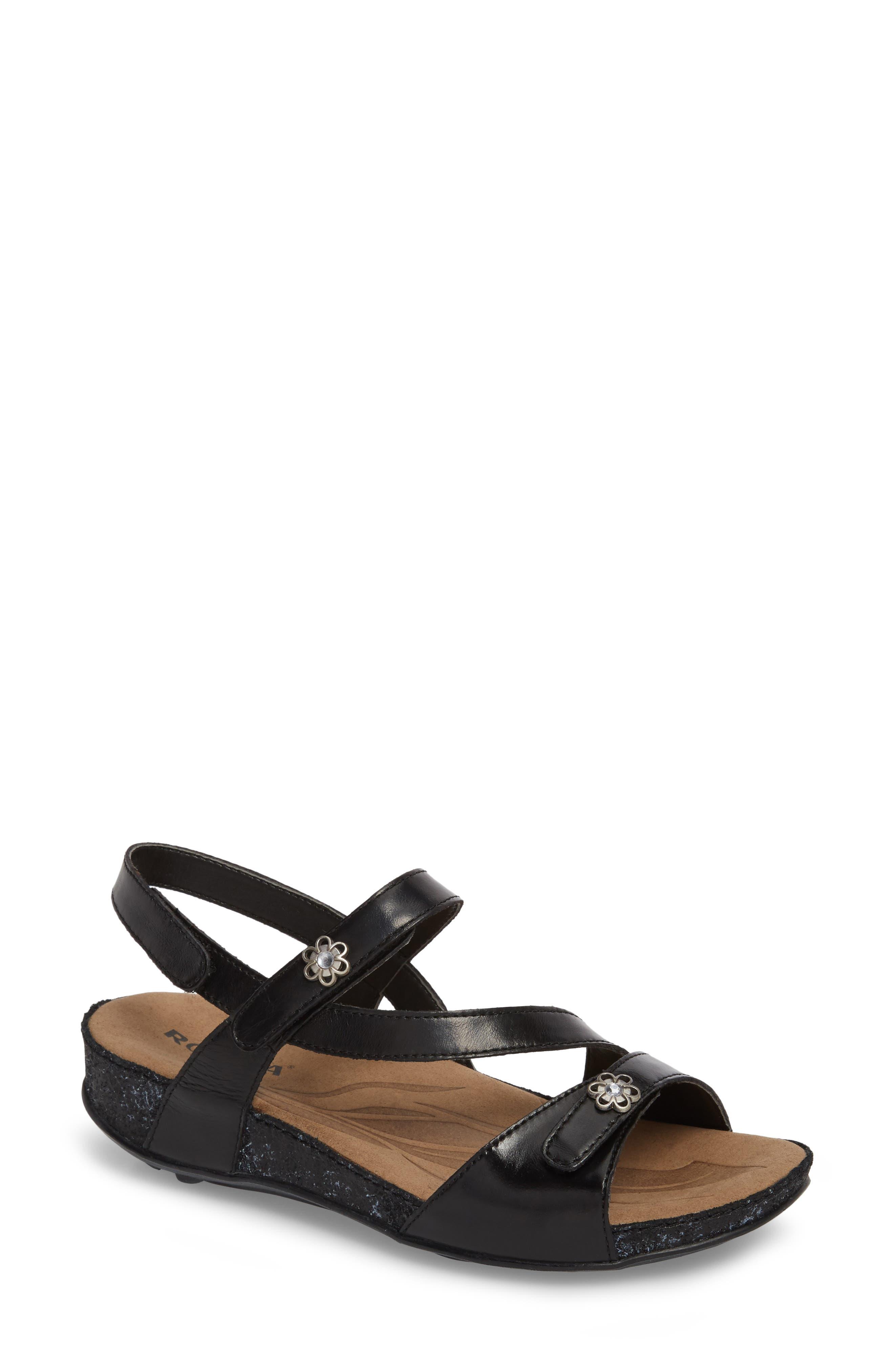 ROMIKA<SUP>®</SUP> Fidschi 54 Sandal, Main, color, BLACK LEATHER