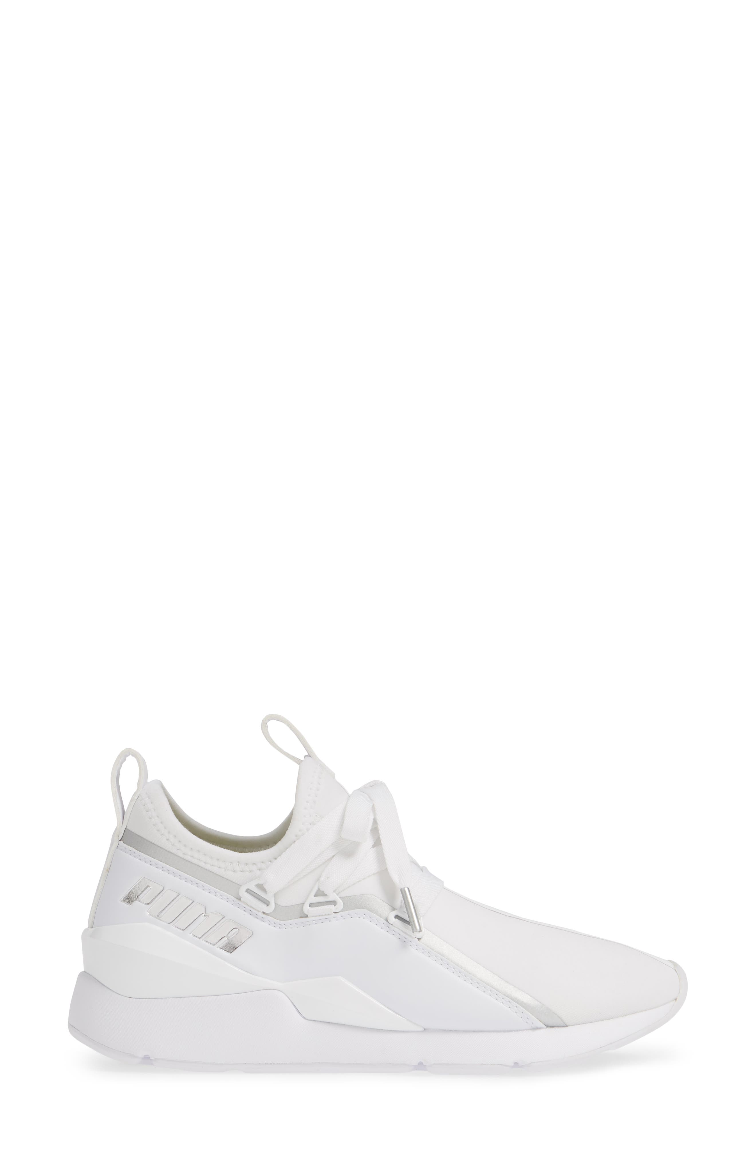 PUMA, Muse 2 Trailblazer Sneaker, Alternate thumbnail 3, color, WHITE/ SILVER