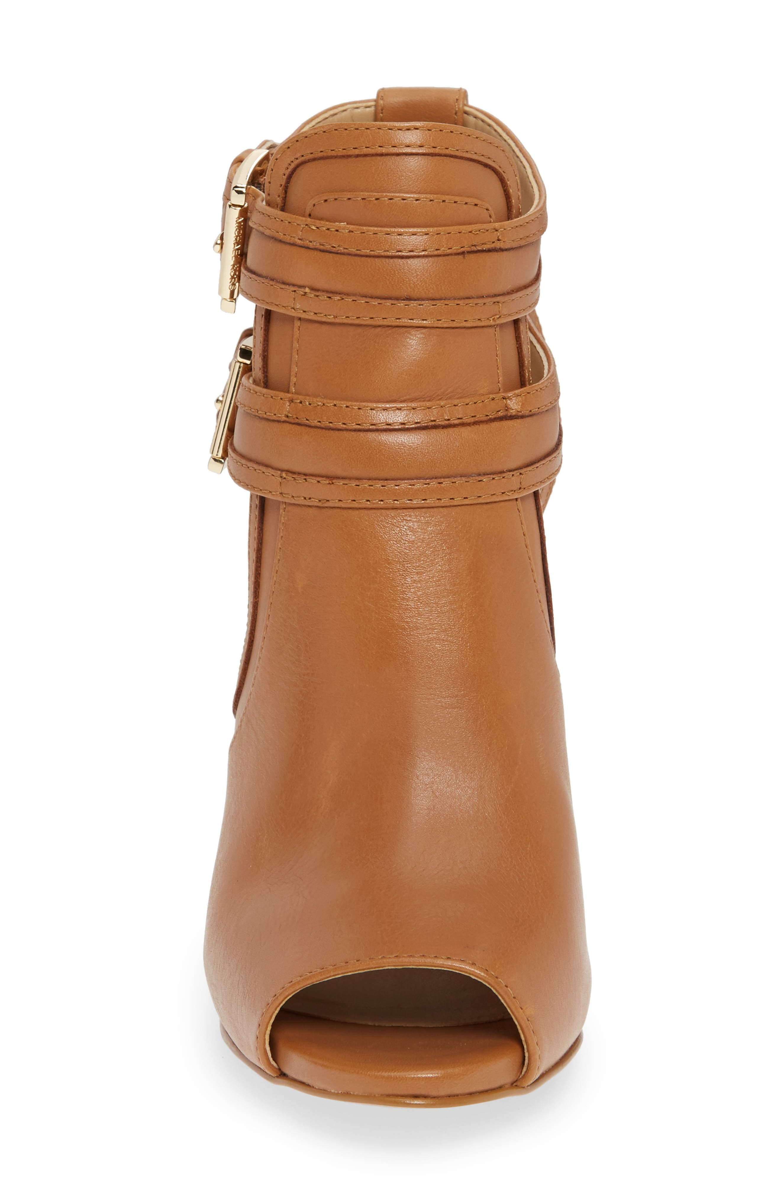 MICHAEL MICHAEL KORS, Blaze Peep Toe Buckle Bootie, Alternate thumbnail 4, color, ACORN LEATHER