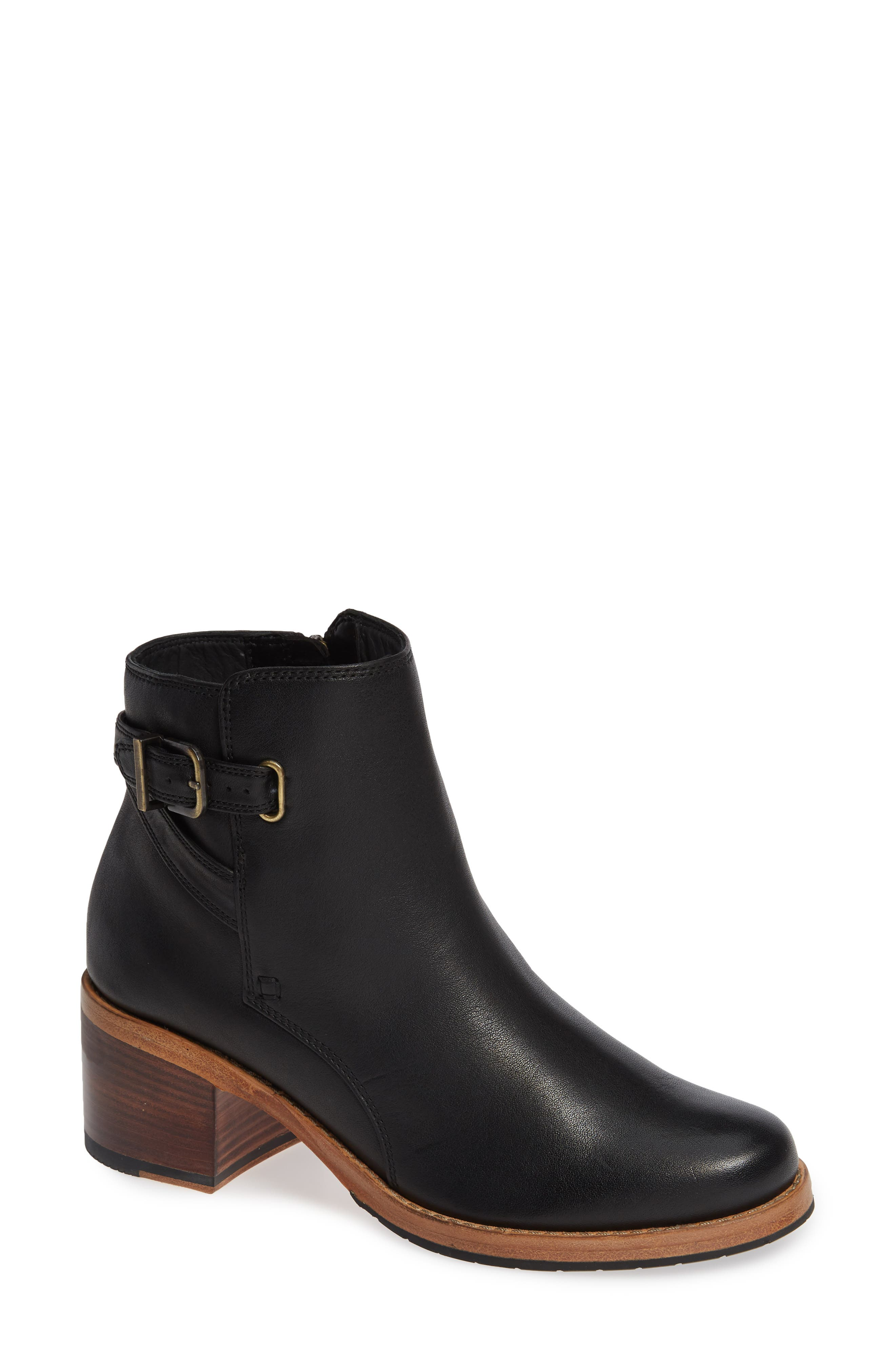 CLARKS<SUP>®</SUP>, Clarkdale Jax Bootie, Main thumbnail 1, color, BLACK LEATHER