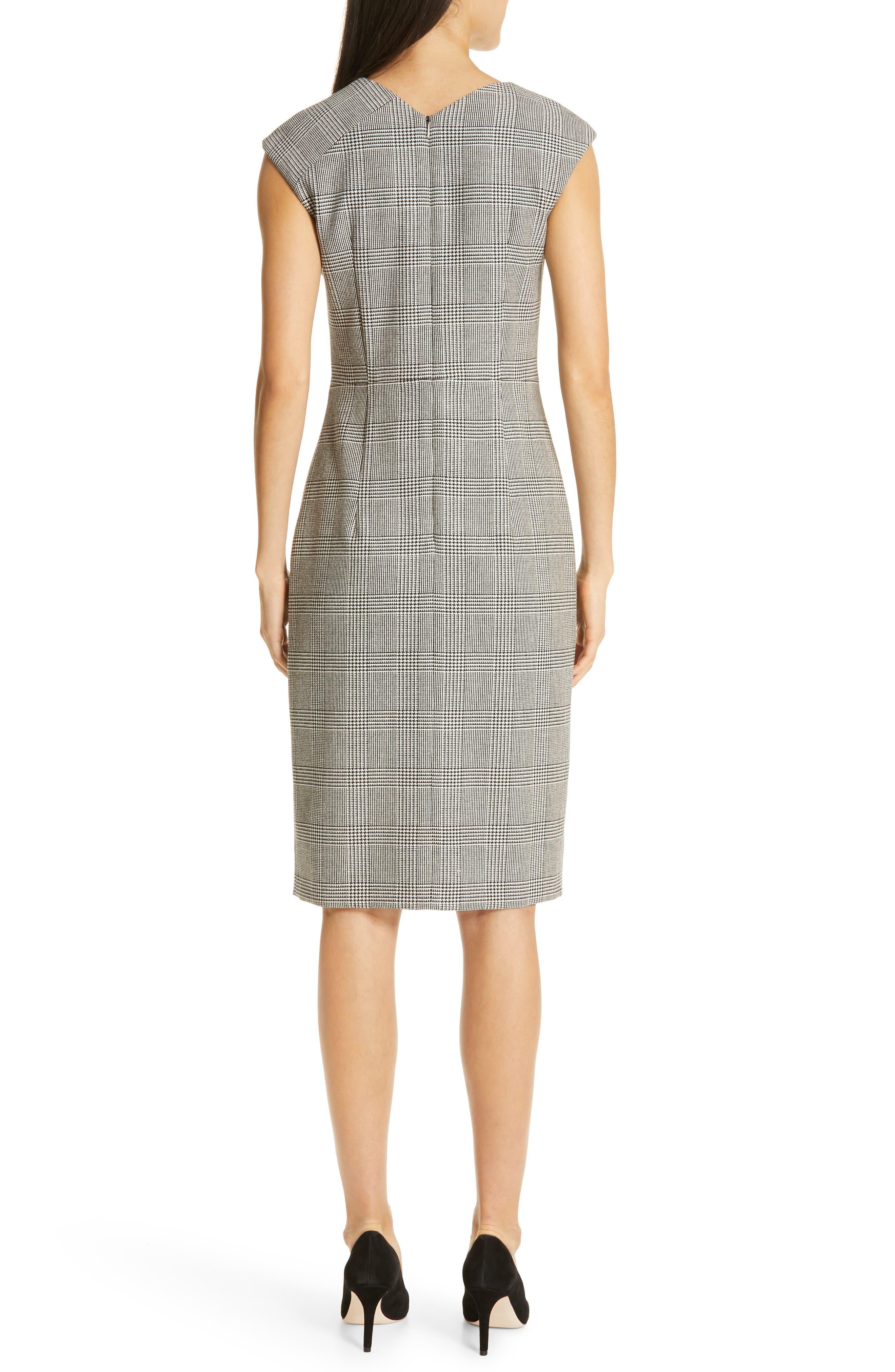 BOSS, Dechesta Glen Plaid Sheath Dress, Alternate thumbnail 2, color, 020