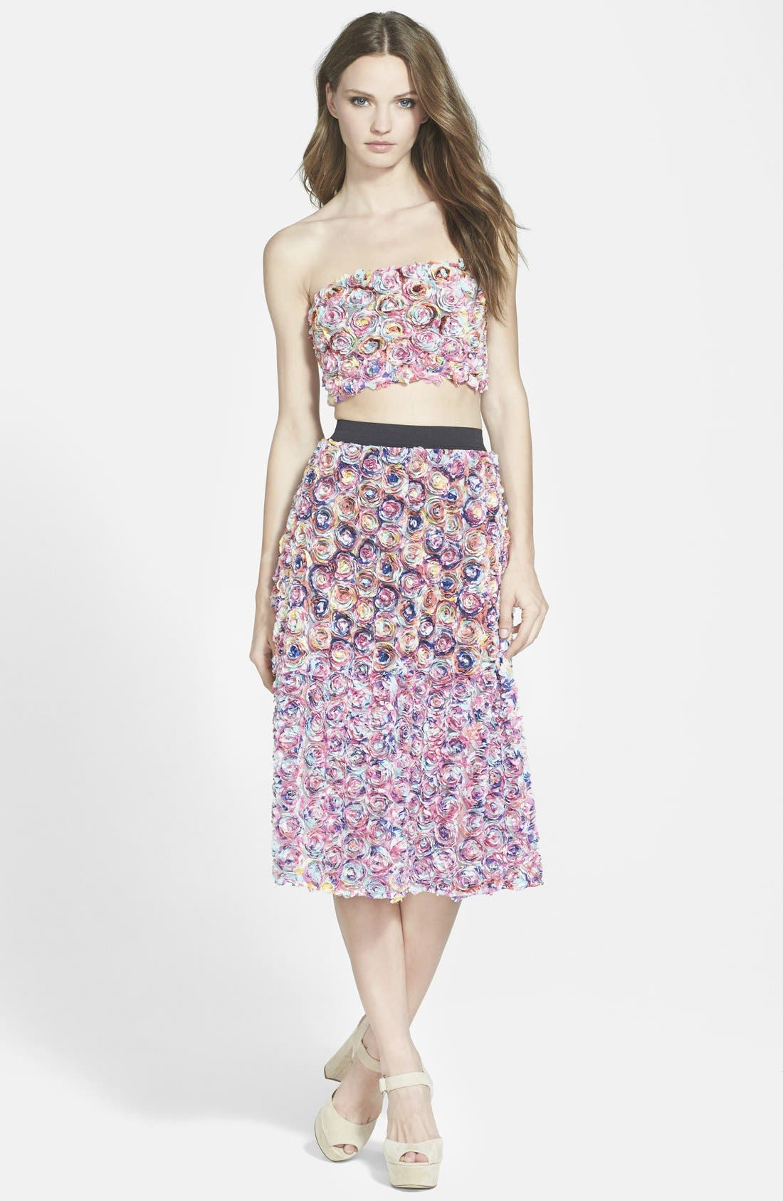 LEITH, Dimensional Floral Midi Skirt, Alternate thumbnail 4, color, 650