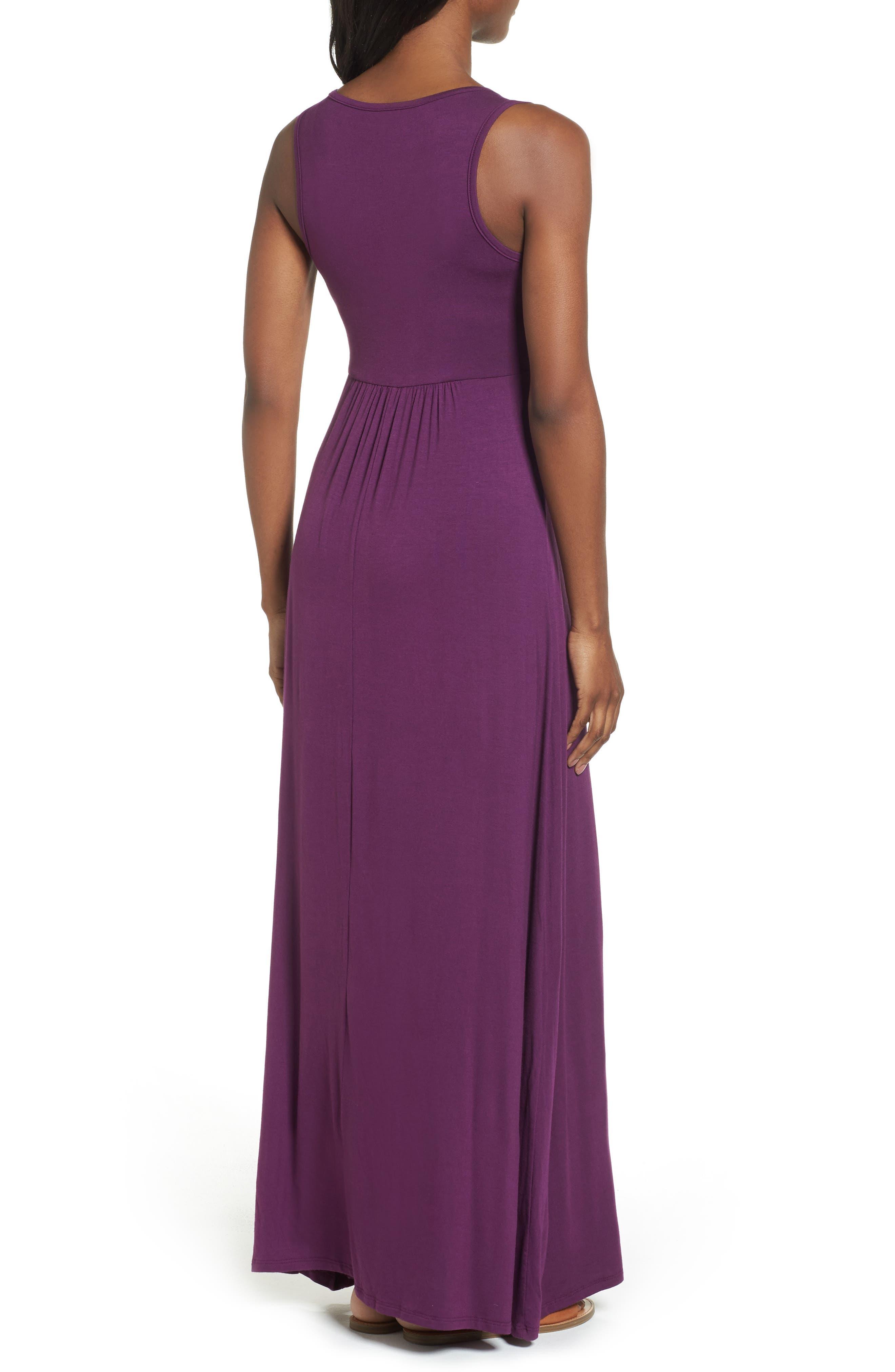 LOVEAPPELLA, V-Neck Jersey Maxi Dress, Alternate thumbnail 2, color, PURPLE DARK