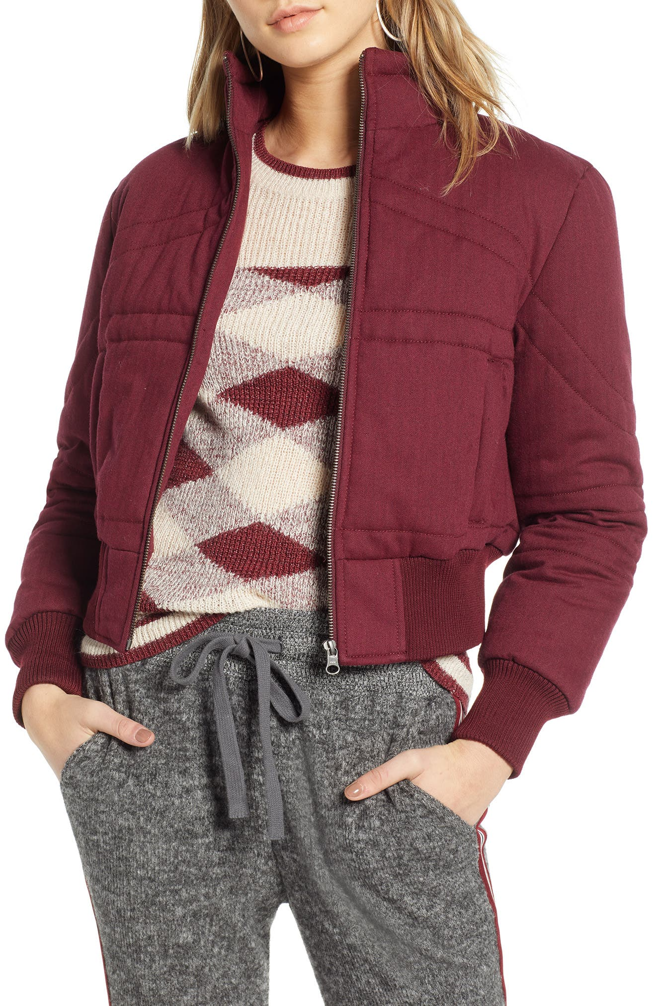TREASURE & BOND, Flannel Crop Puffer Jacket, Main thumbnail 1, color, RED TANNIN HEATHER