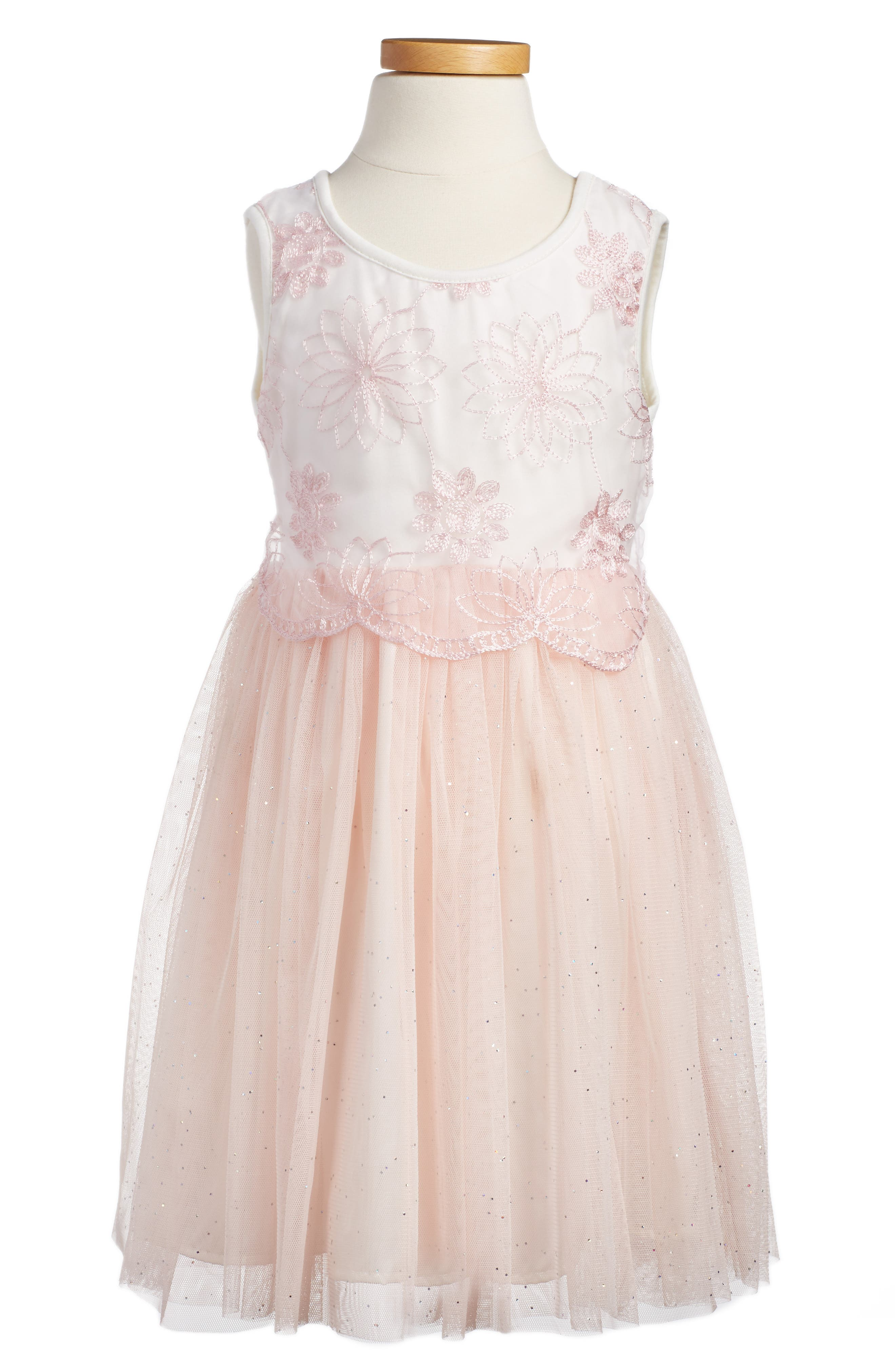 POPATU, Embroidered Tulle Dress, Alternate thumbnail 4, color, PEACH