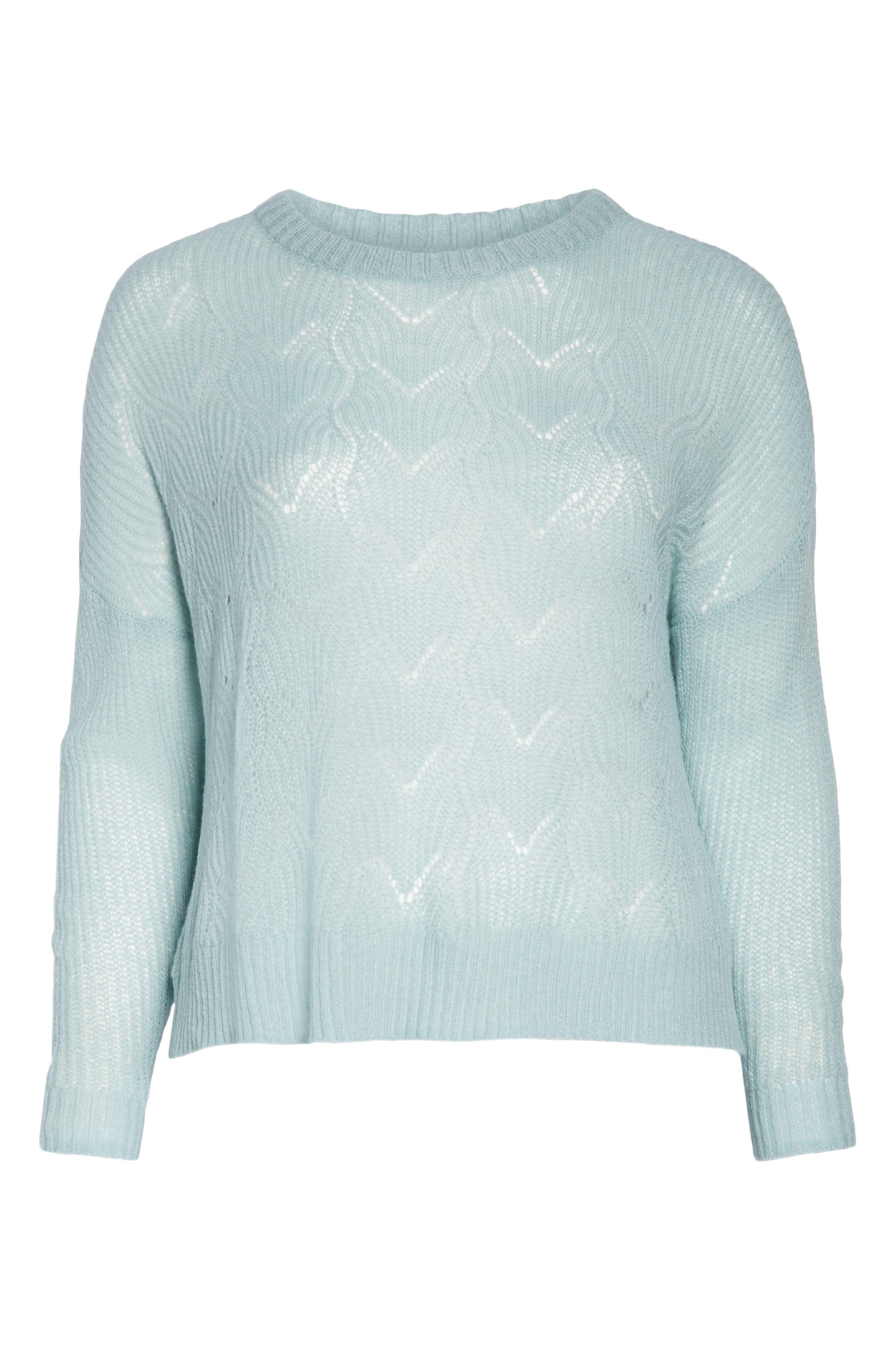 BP., Pointelle Stitch Sweater, Alternate thumbnail 12, color, BLUE CLOUD