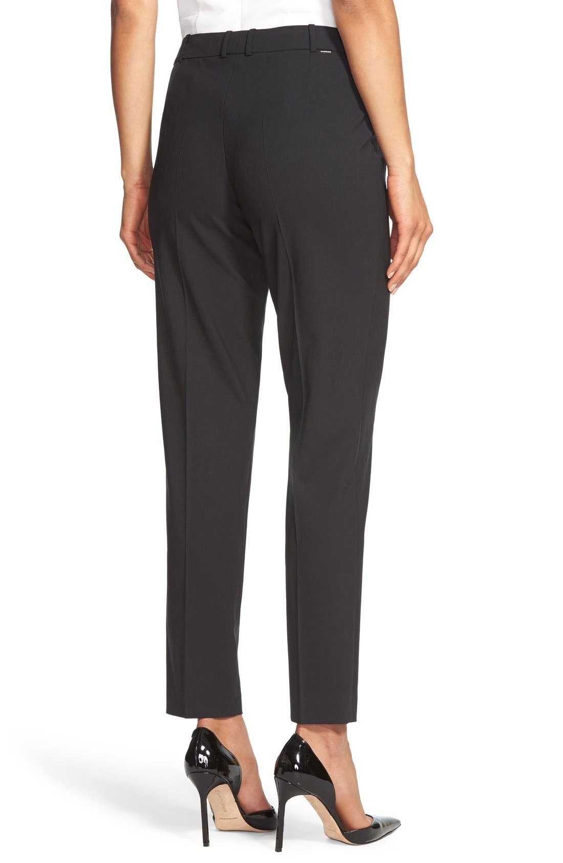 BOSS, Tiluna Tropical Stretch Wool Ankle Trousers, Alternate thumbnail 4, color, BLACK