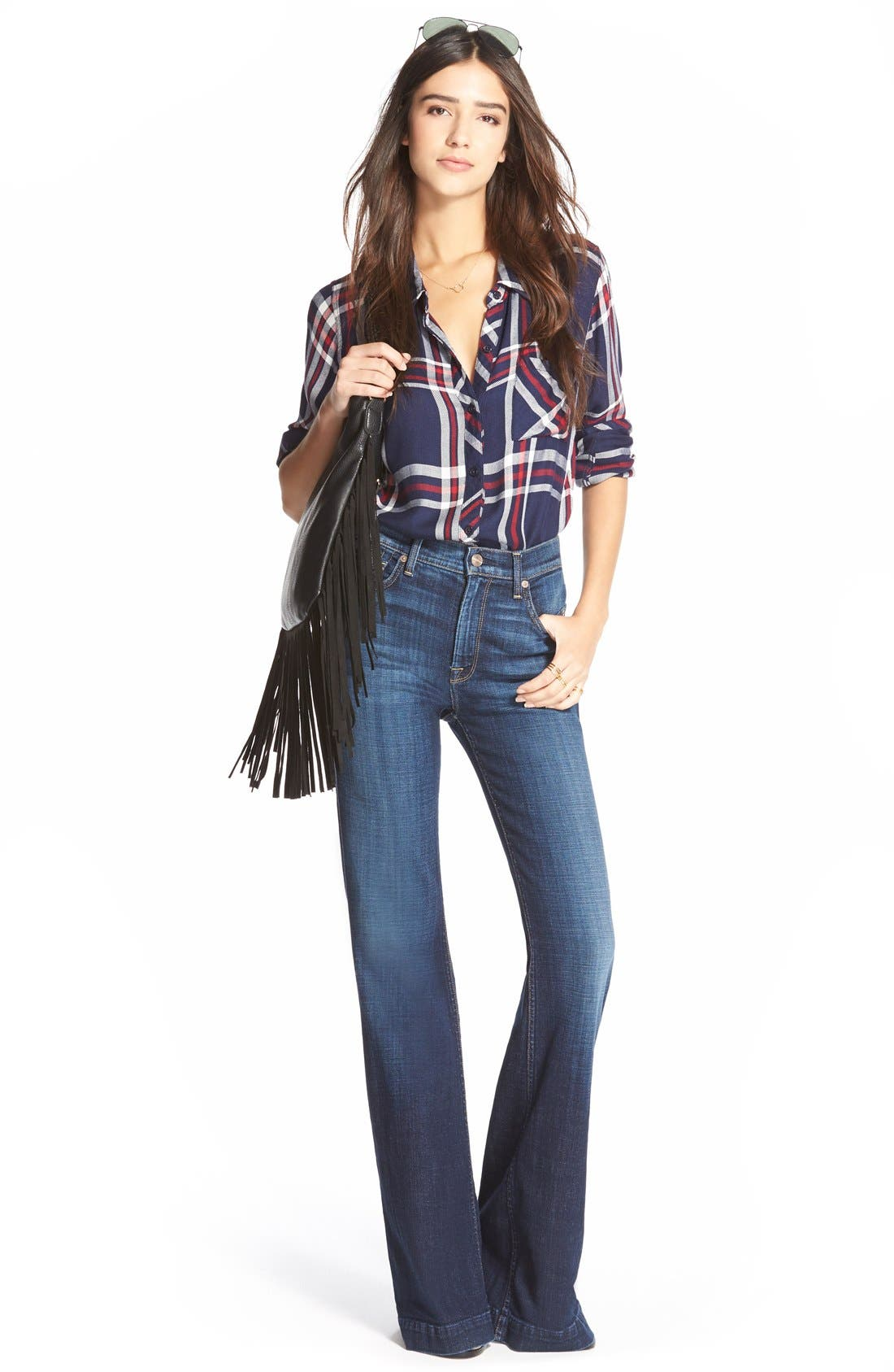7 FOR ALL MANKIND<SUP>®</SUP>, 'Ginger' High Rise Flare Jeans, Alternate thumbnail 6, color, 400