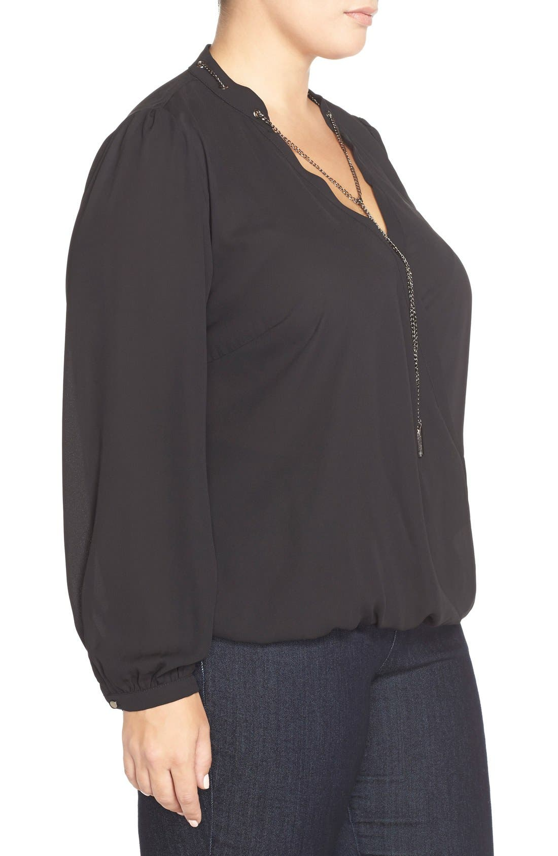 CITY CHIC, Chain Neck Wrap Front Top, Alternate thumbnail 5, color, 001
