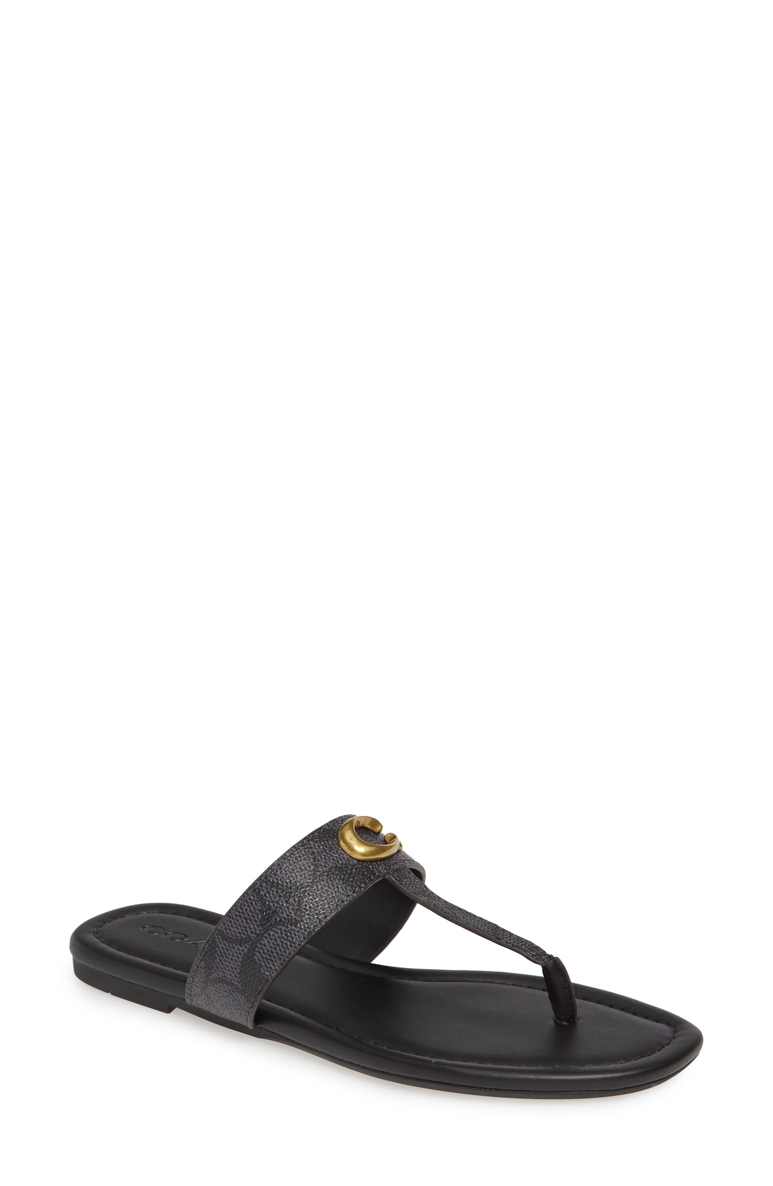 COACH Jessie Flip Flop, Main, color, CHARCOAL/ BLACK CANVAS