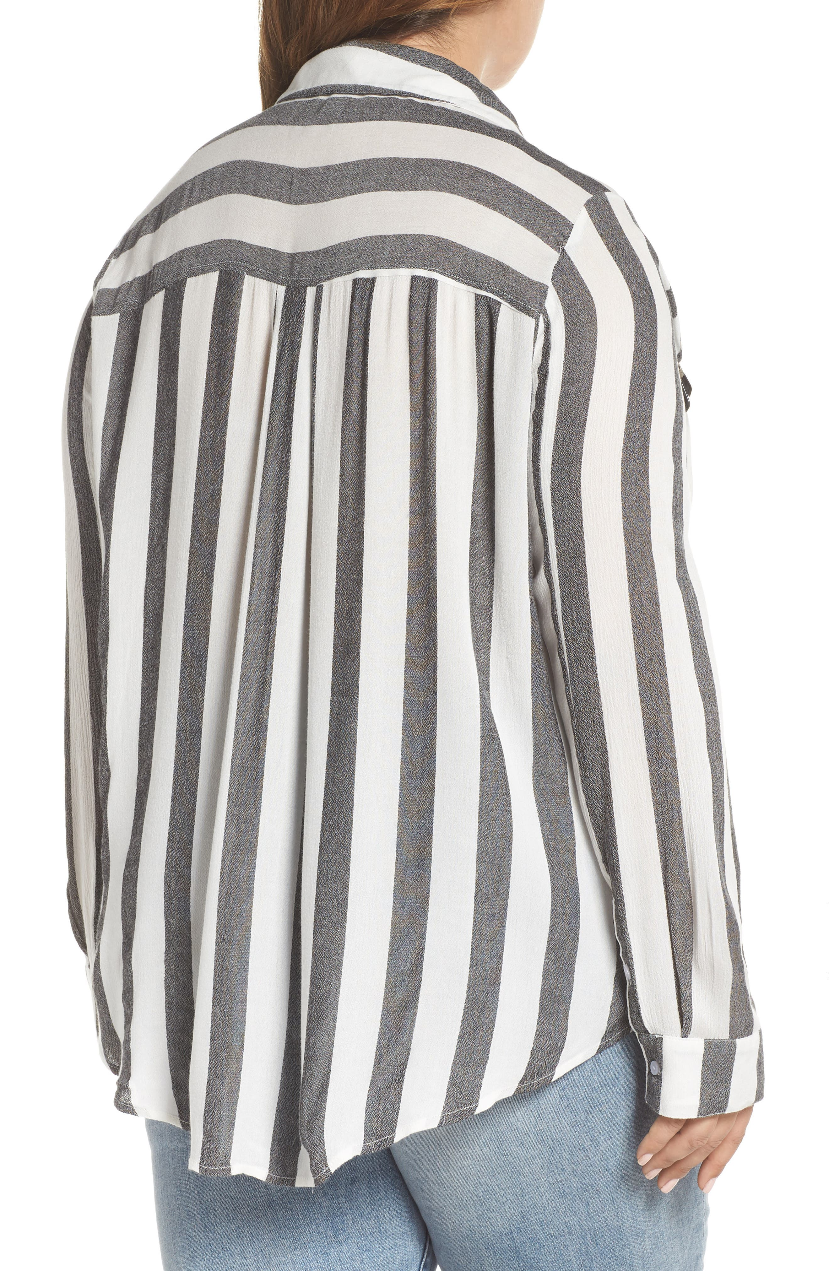 BP., Perfect Stripe Shirt, Alternate thumbnail 2, color, 001