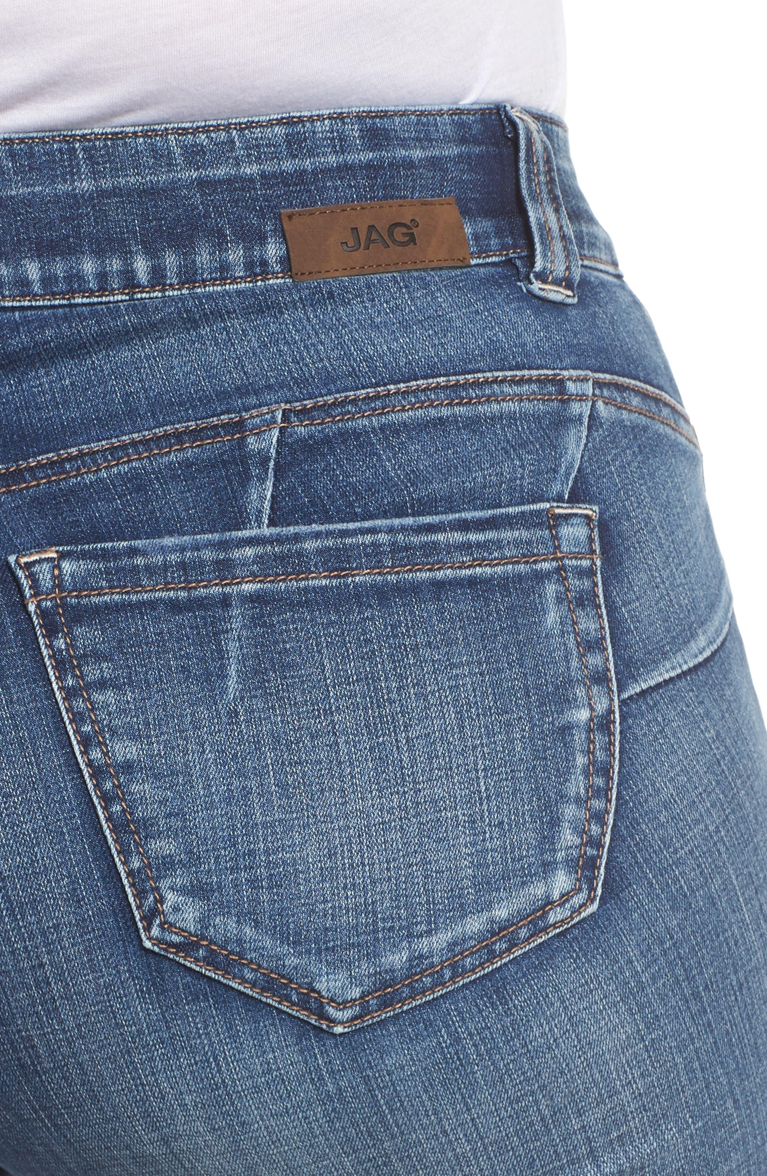 JAG JEANS, Eloise Bootcut Stretch Jeans, Alternate thumbnail 5, color, MED INDIGO