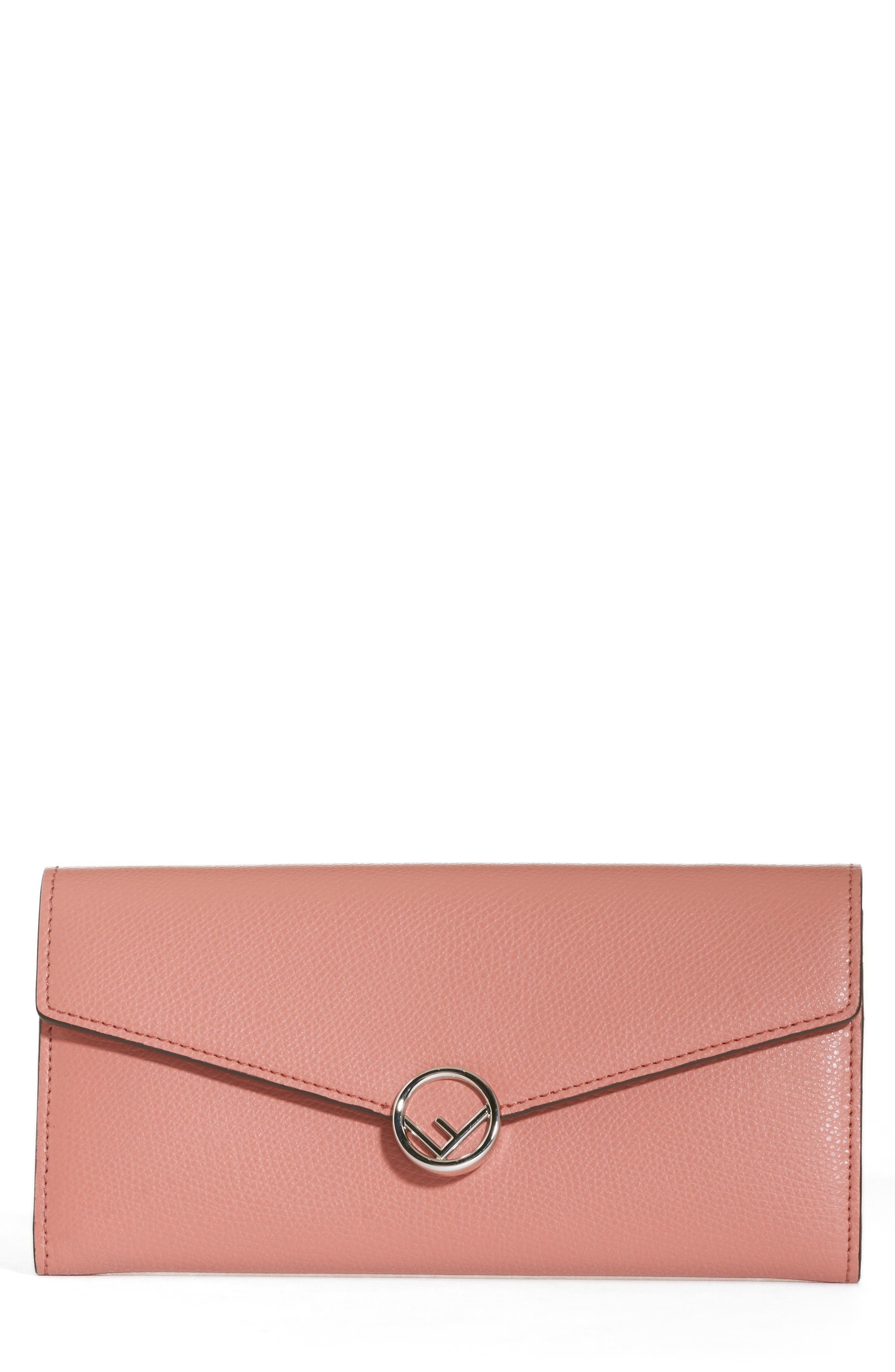 FENDI Logo Calfskin Leather Continental Wallet on a Chain, Main, color, MACARON/ PALLADIO