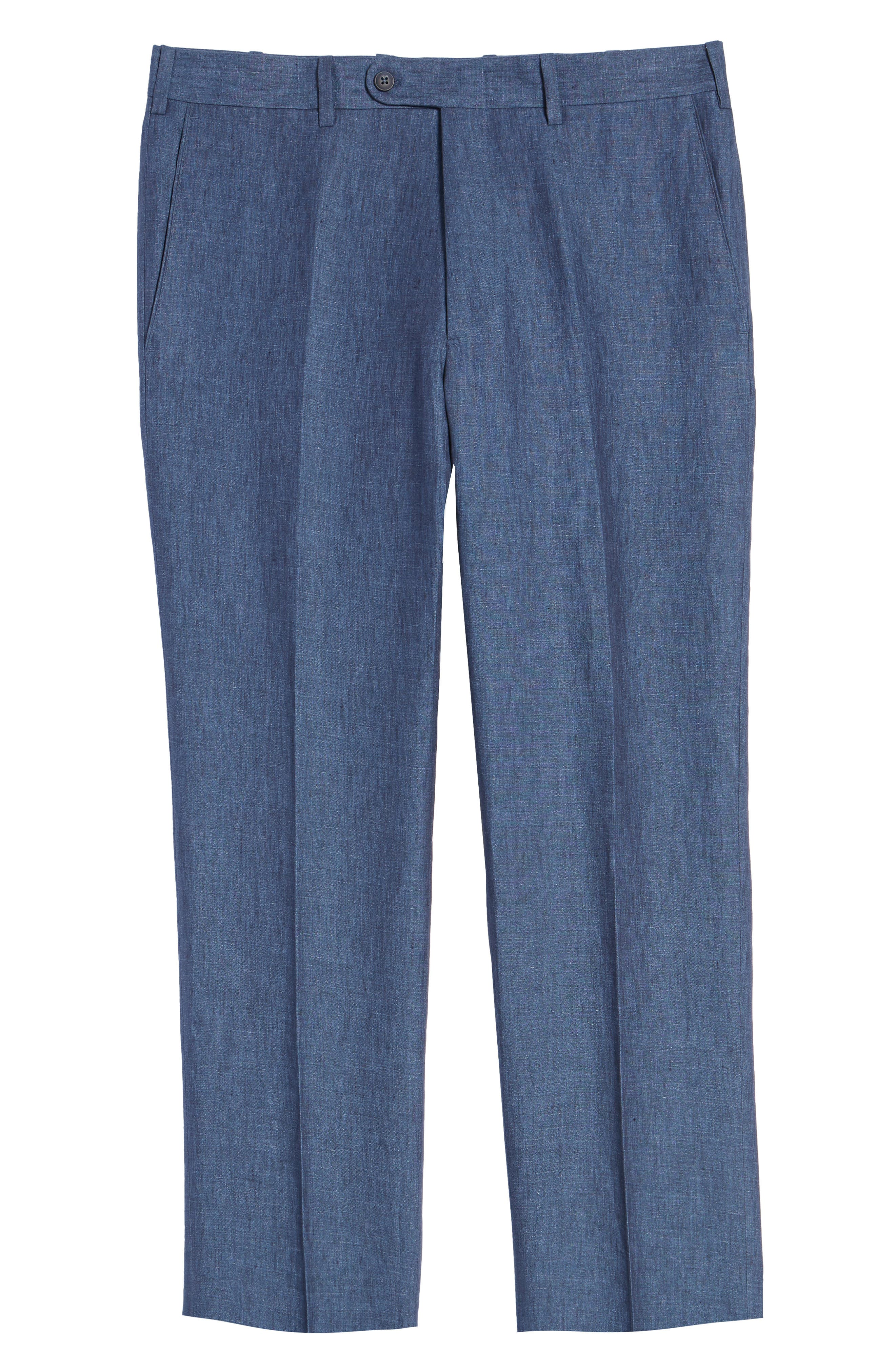 JOHN W. NORDSTROM<SUP>®</SUP>, Torino Flat Front Solid Linen Trousers, Alternate thumbnail 6, color, 420