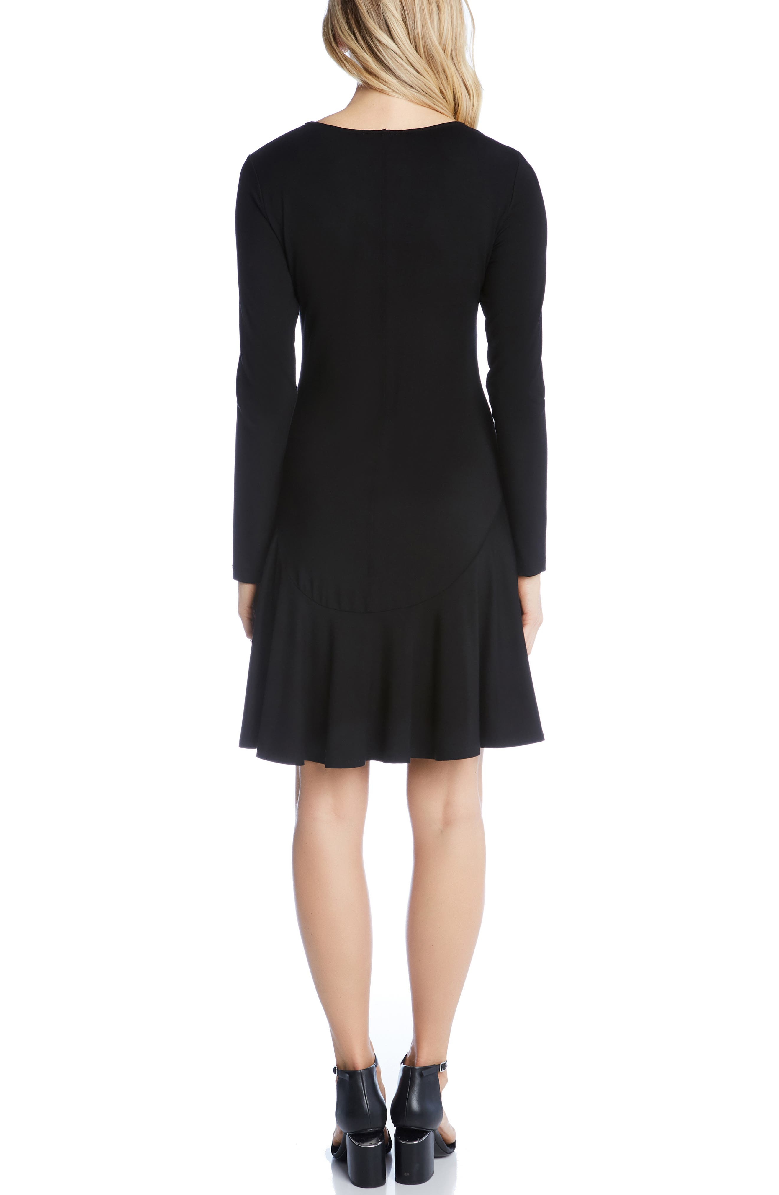KAREN KANE, Dakota Ruffle Hem A-Line Dress, Alternate thumbnail 2, color, BLACK