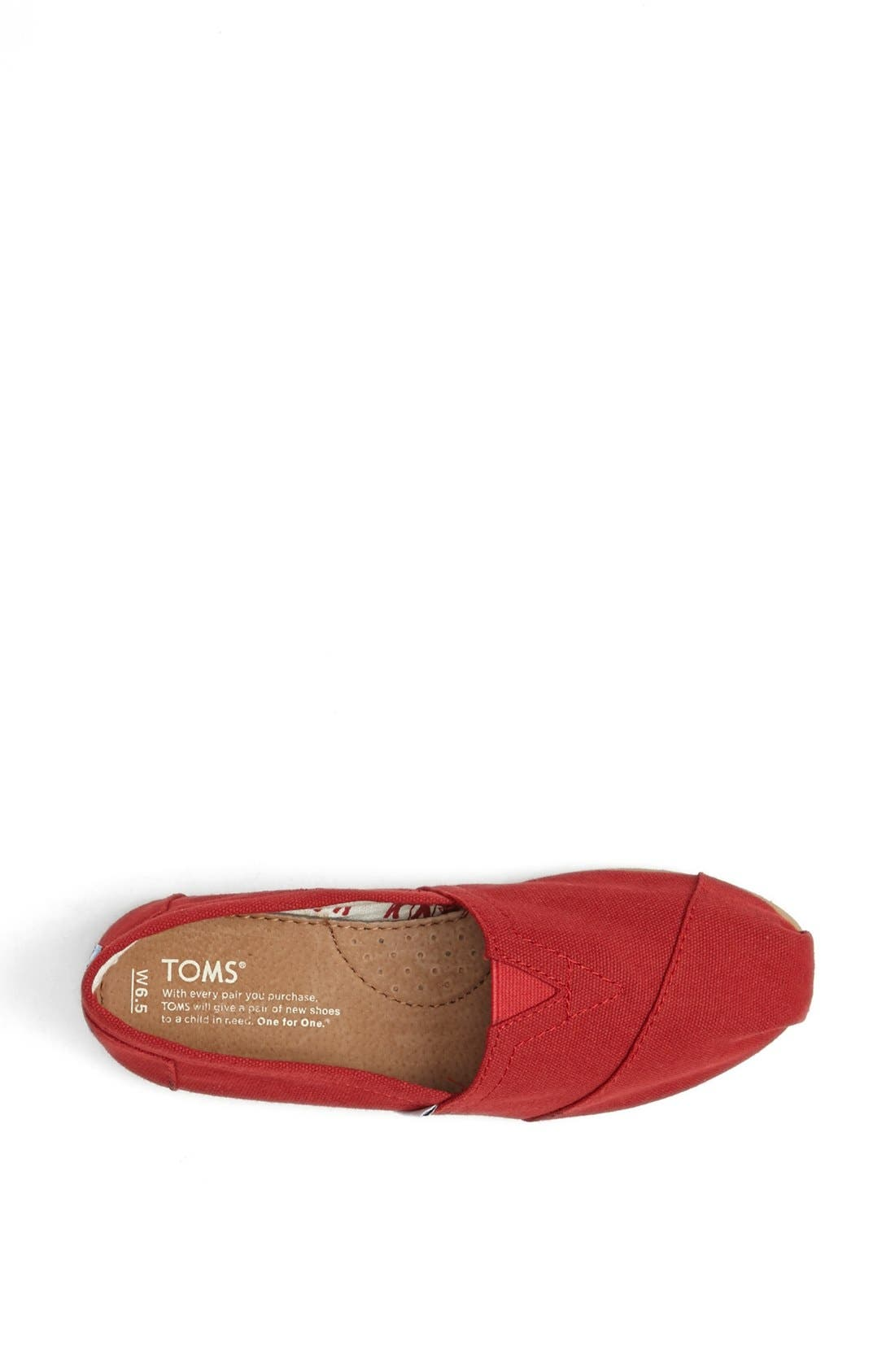 TOMS, Classic Canvas Slip-On, Alternate thumbnail 5, color, RED