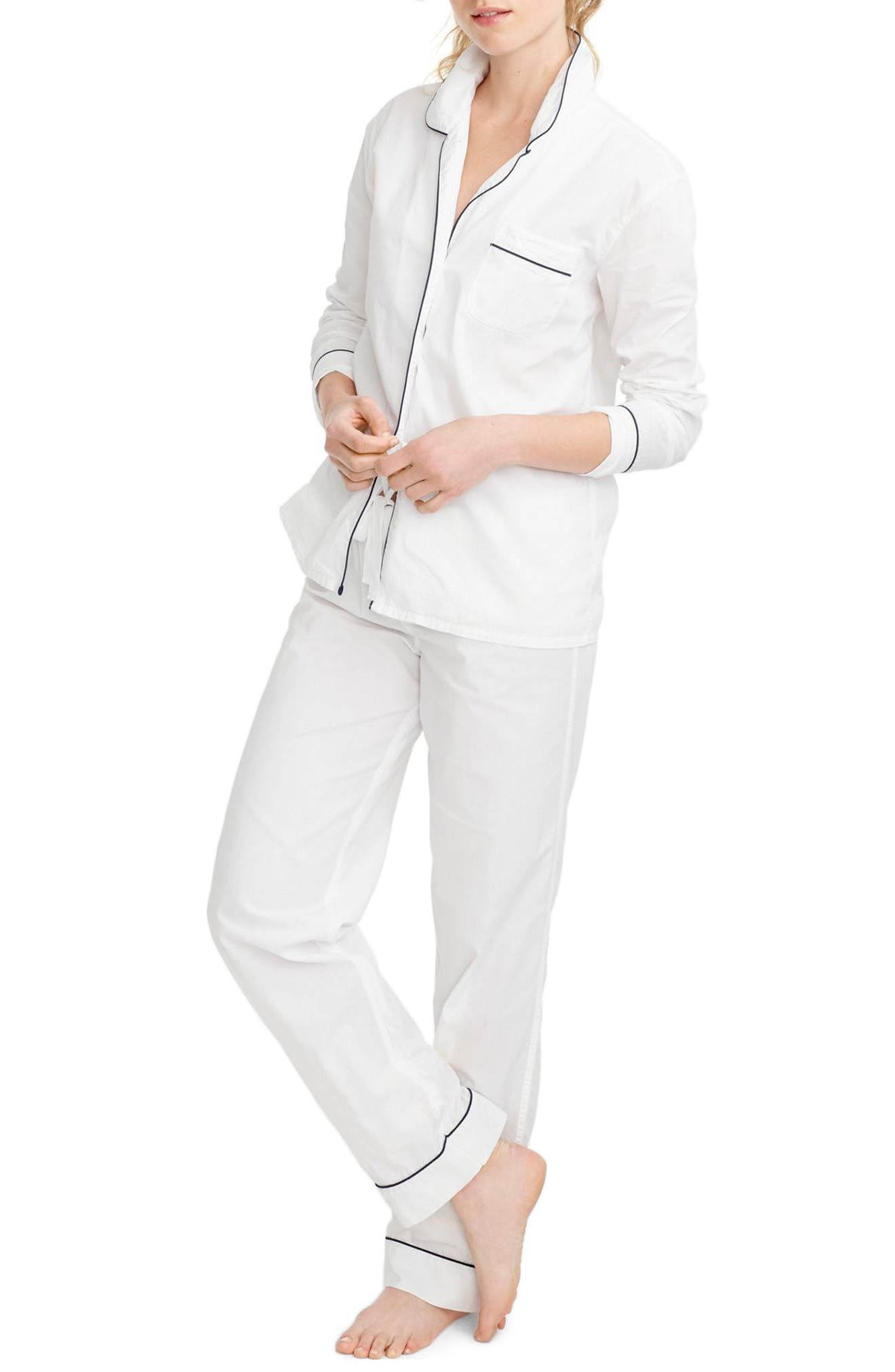 J.CREW, Vintage Cotton Pajamas, Main thumbnail 1, color, WHITE