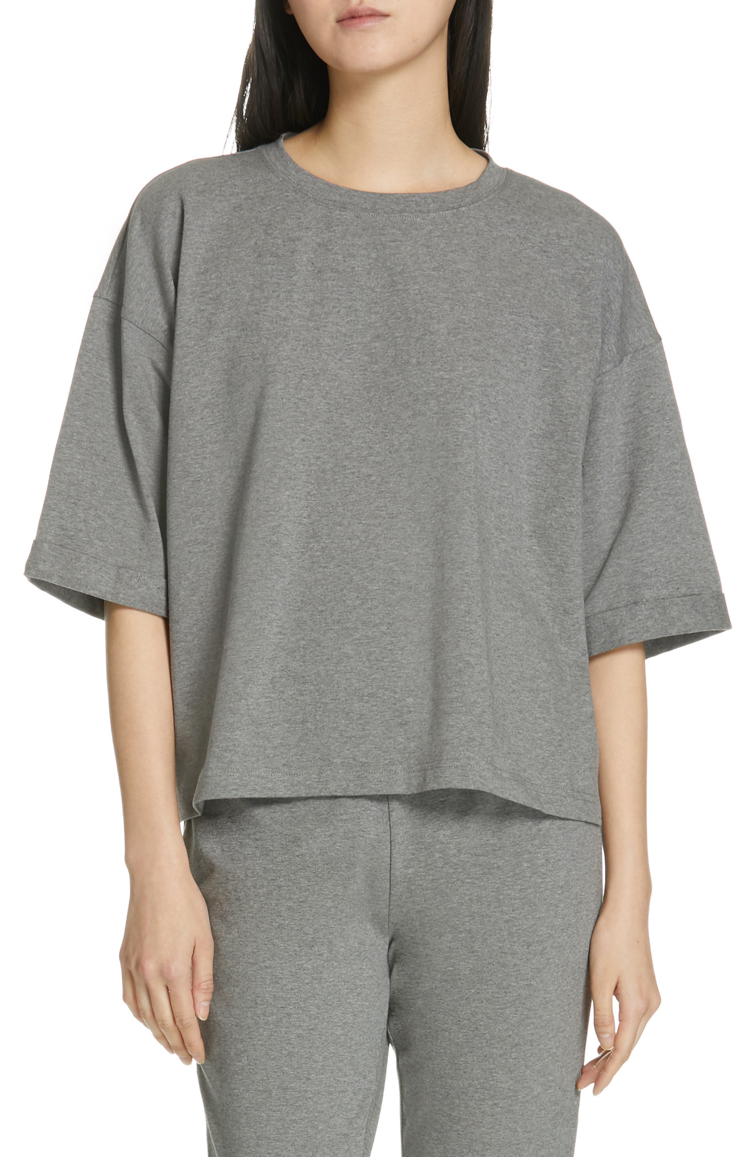 EILEEN FISHER, Stretch Organic Cotton Top, Main thumbnail 1, color, MOON