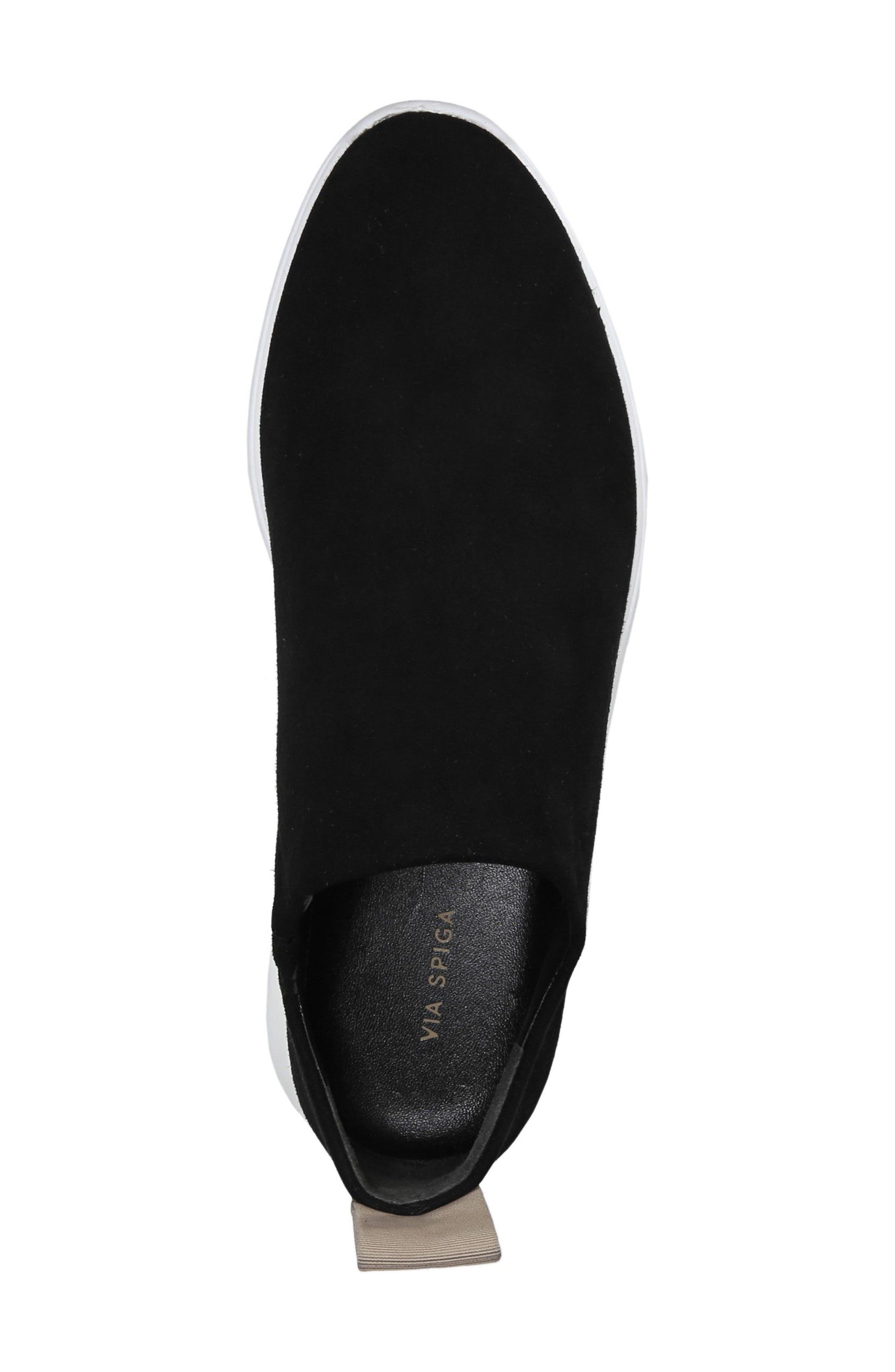 VIA SPIGA, Marlow Slip-On Sneaker, Alternate thumbnail 5, color, BLACK SUEDE