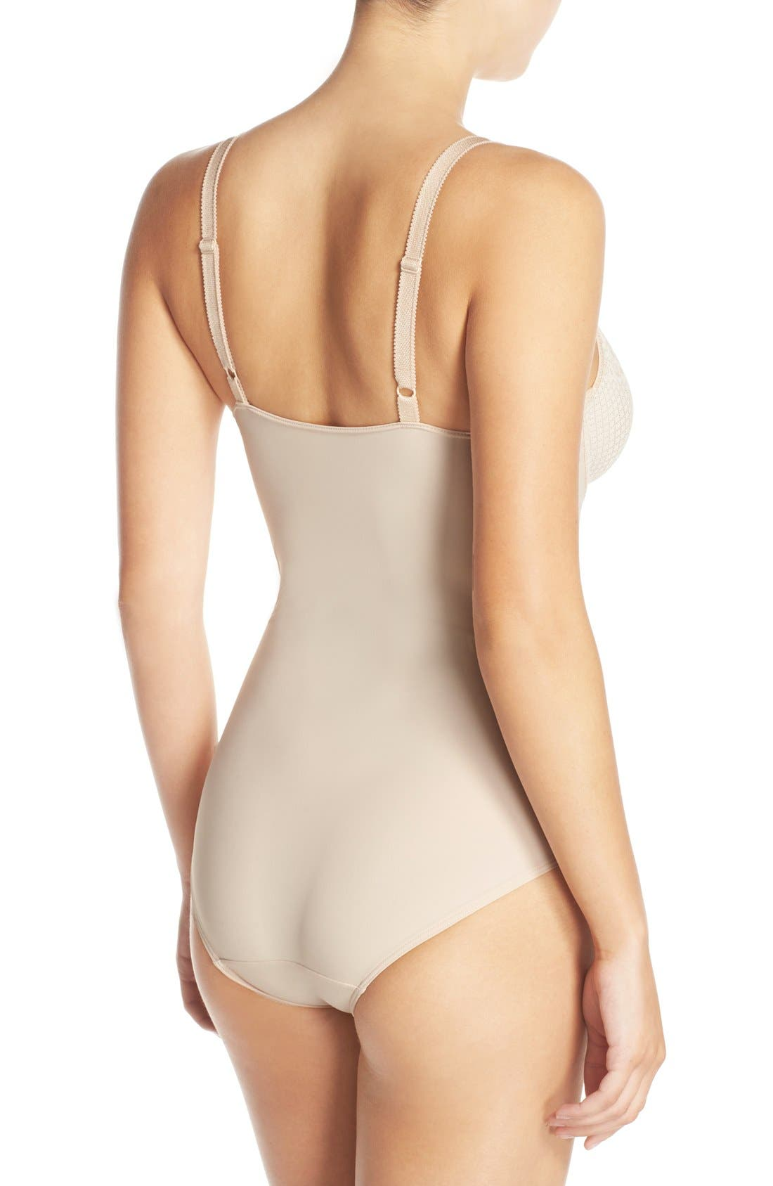 WACOAL, Visual Effects Underwire Shaping Bodysuit, Alternate thumbnail 2, color, SAND