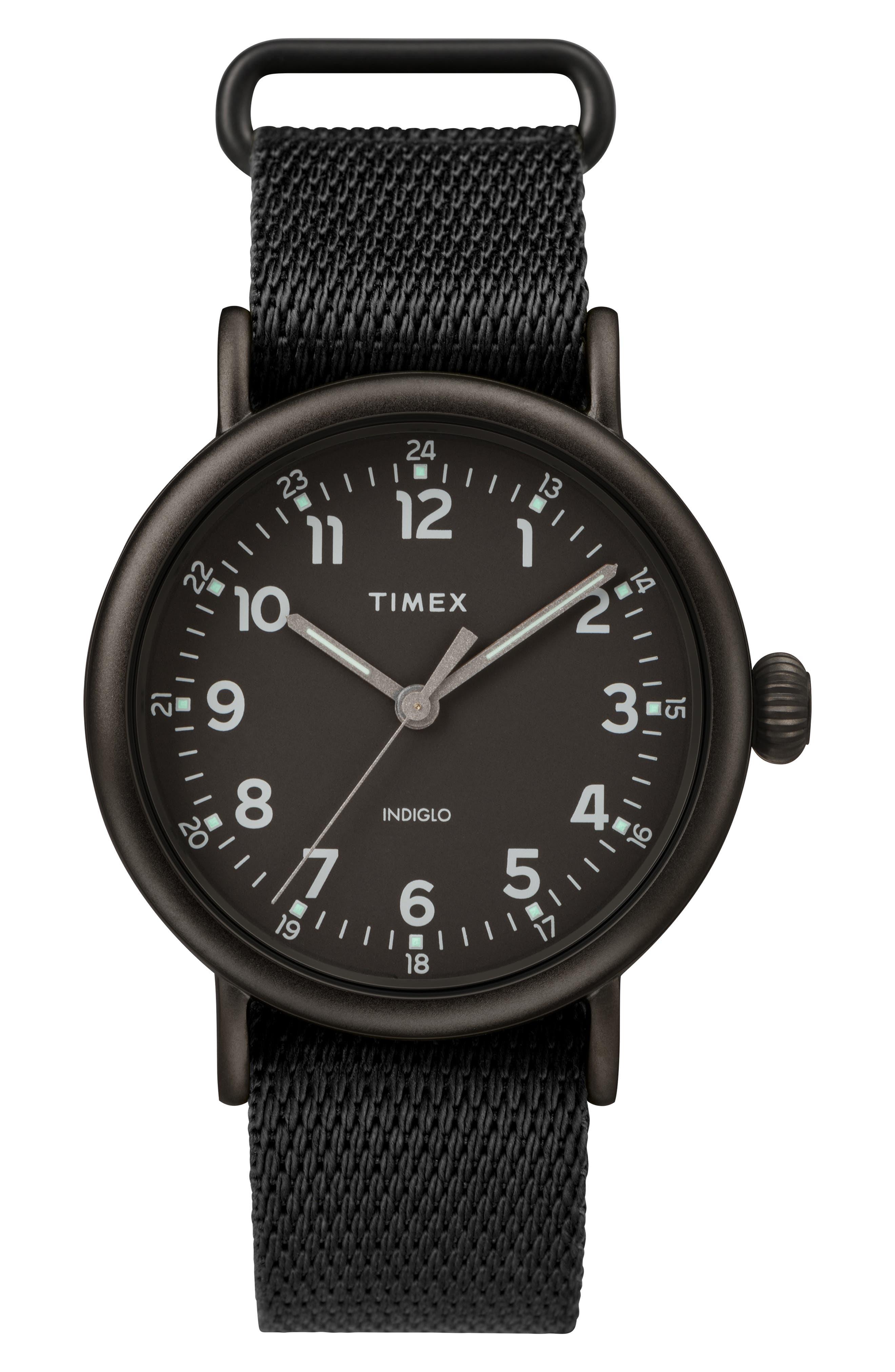 TIMEX<SUP>®</SUP>, Standard Textile Strap Watch, 41mm, Main thumbnail 1, color, BLACK