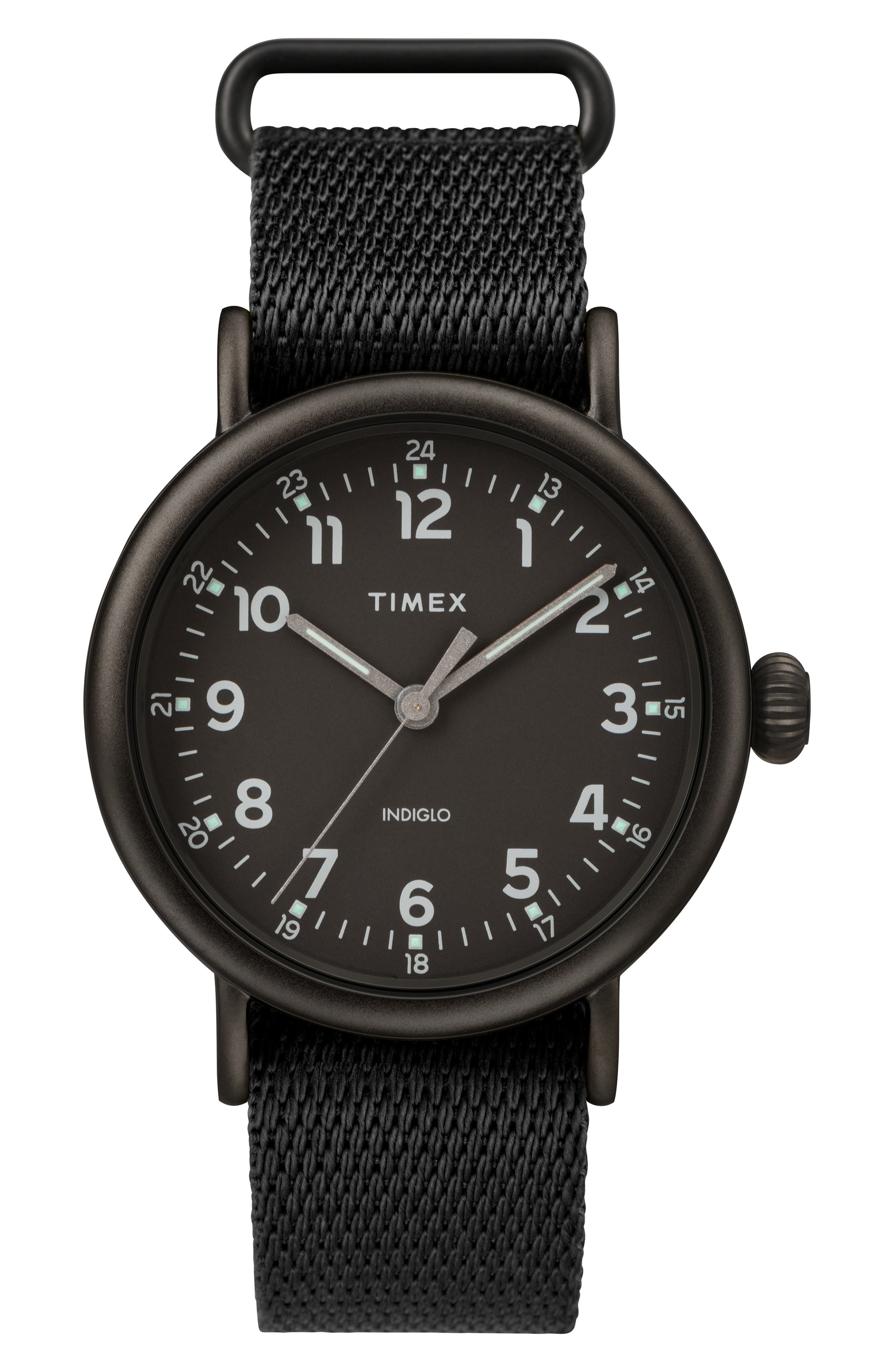 TIMEX<SUP>®</SUP> Standard Textile Strap Watch, 41mm, Main, color, BLACK