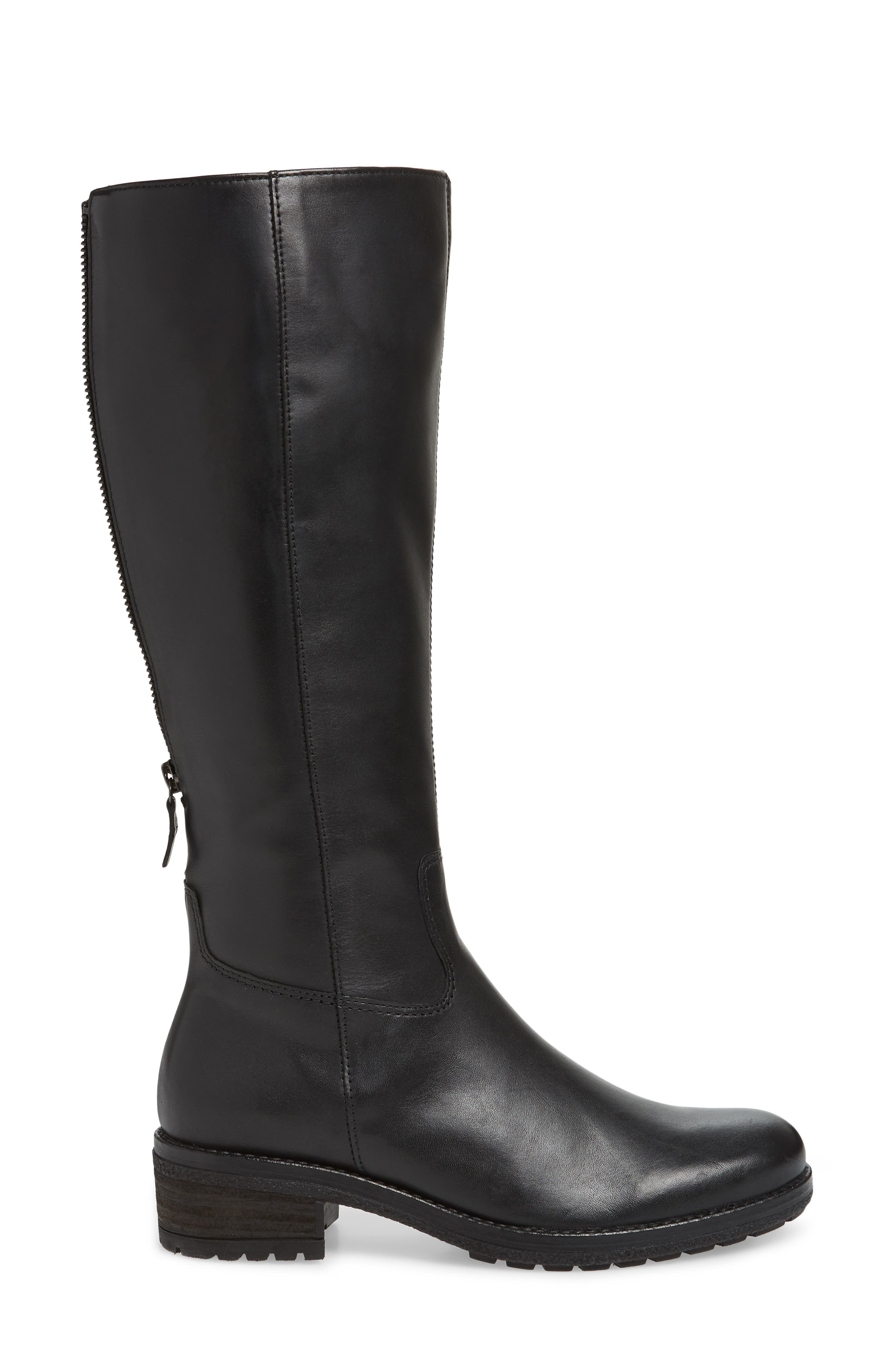 GABOR, Classic Comfort Knee High Riding Boot, Alternate thumbnail 3, color, BLACK LEATHER