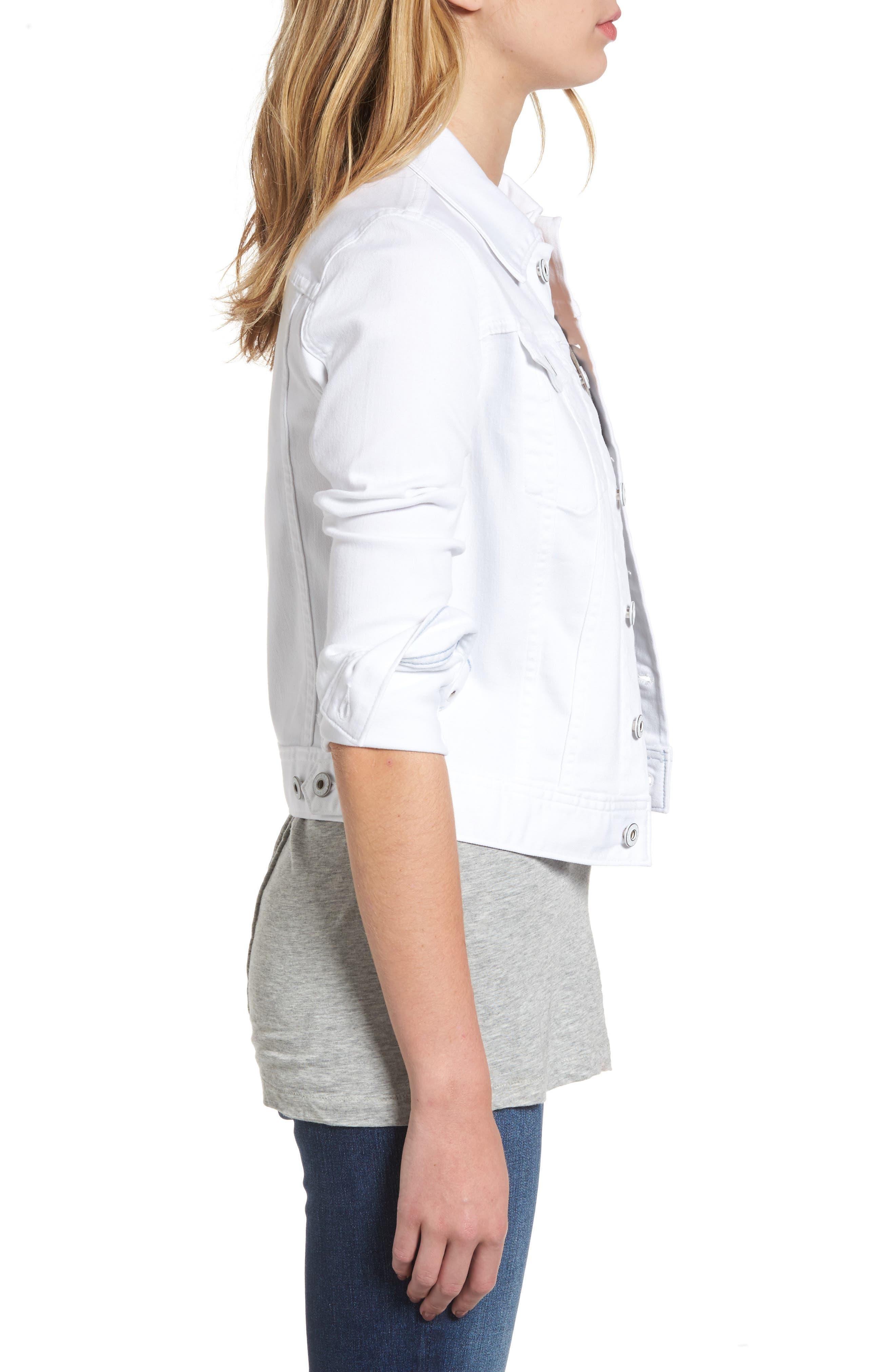 AG, 'Robyn' Denim Jacket, Alternate thumbnail 4, color, WHITE