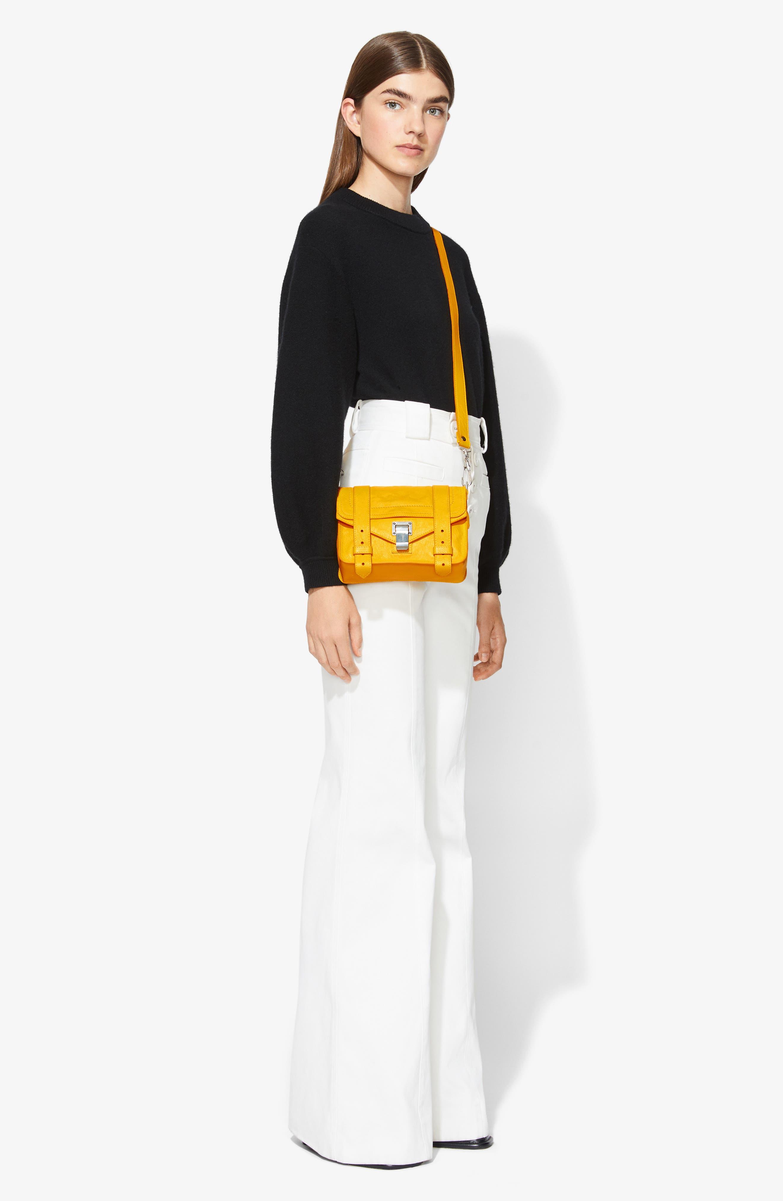 PROENZA SCHOULER, 'Mini PS1' Lambskin Leather Crossbody Bag, Alternate thumbnail 2, color, LEMON CHROME