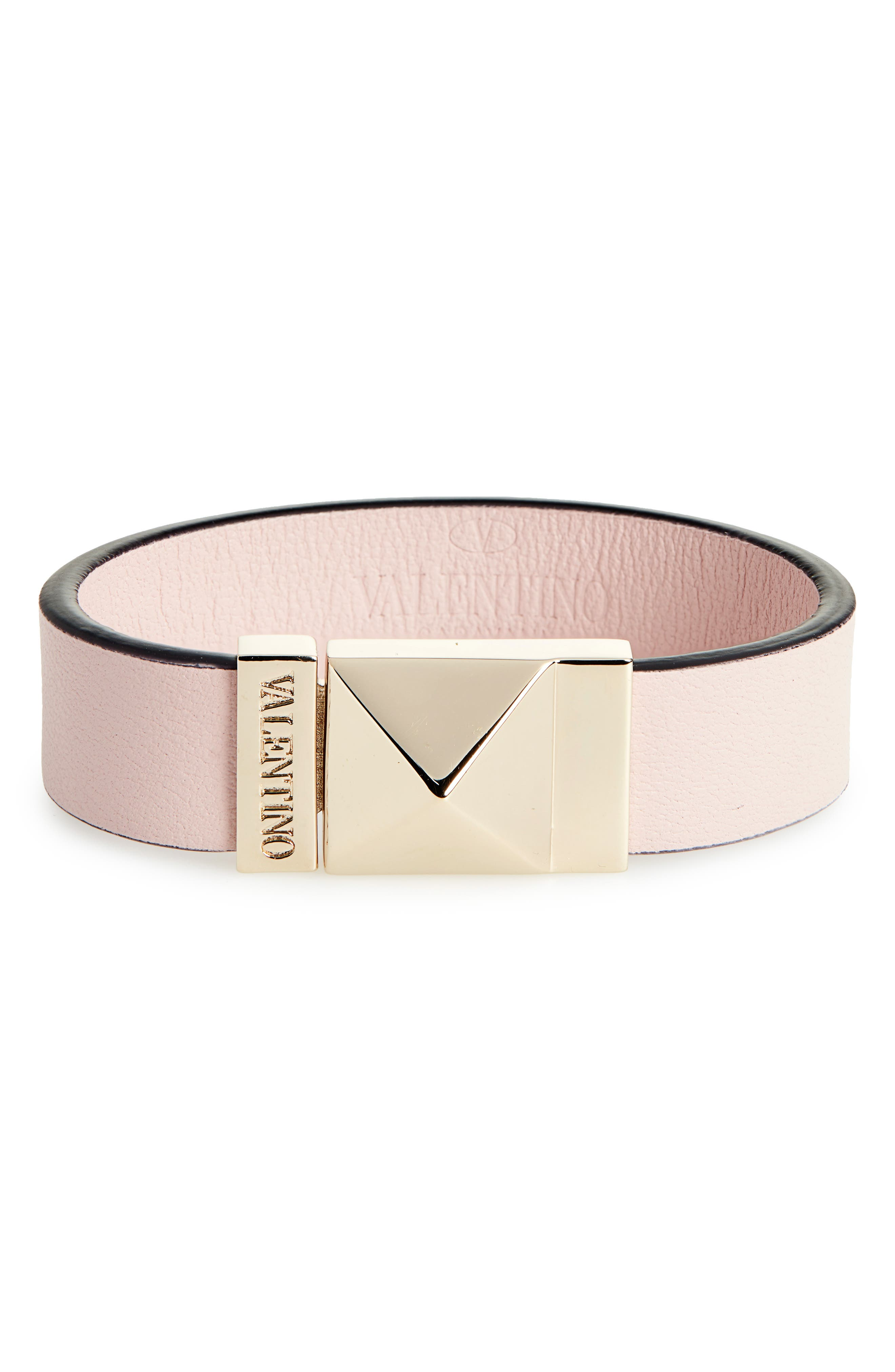 VALENTINO, Small Lock Leather Cuff Bracelet, Main thumbnail 1, color, WATER ROSE