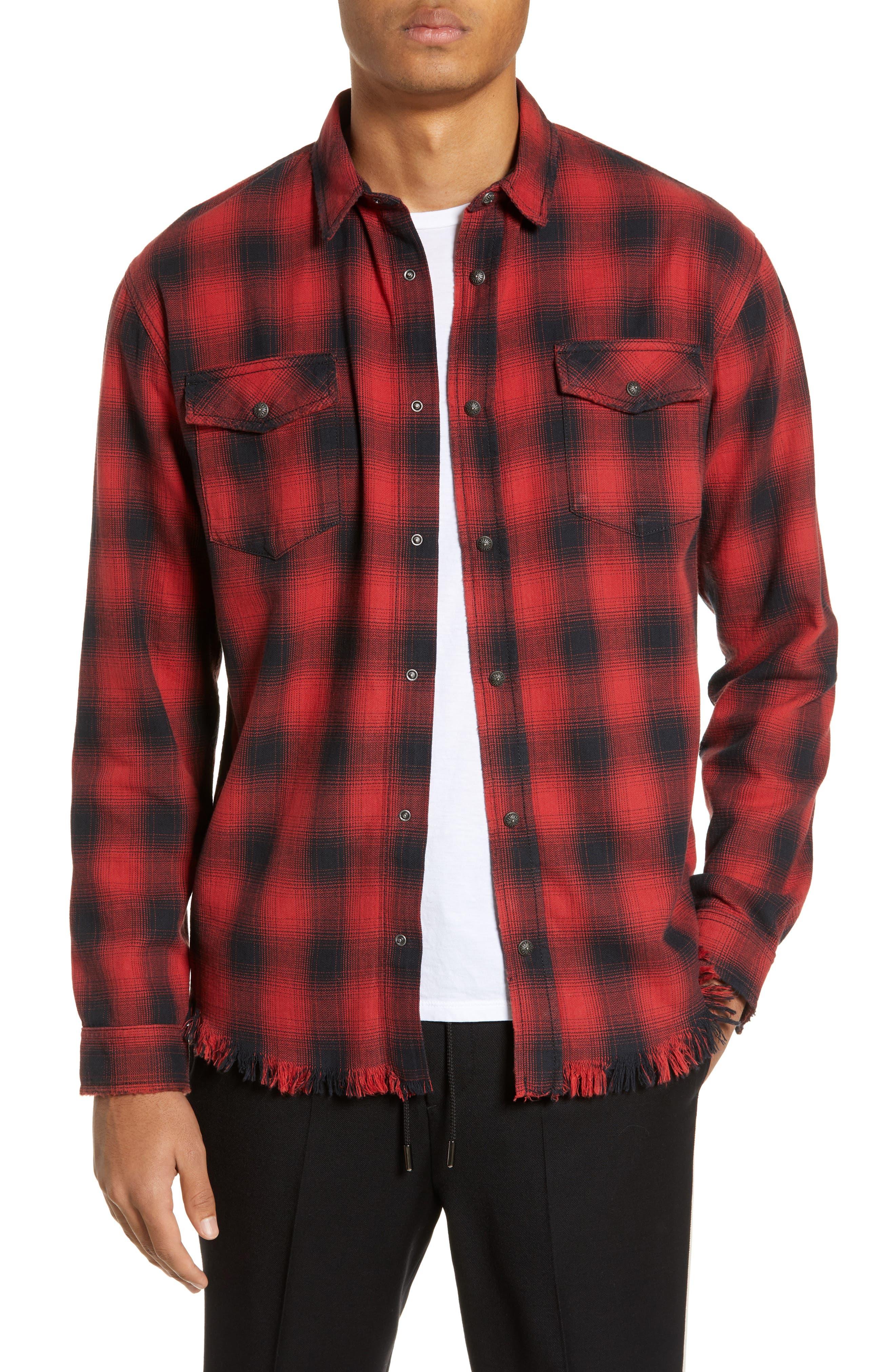 THE KOOPLES, Regular Fit Ombré Plaid Shirt, Main thumbnail 1, color, RED / BLACK