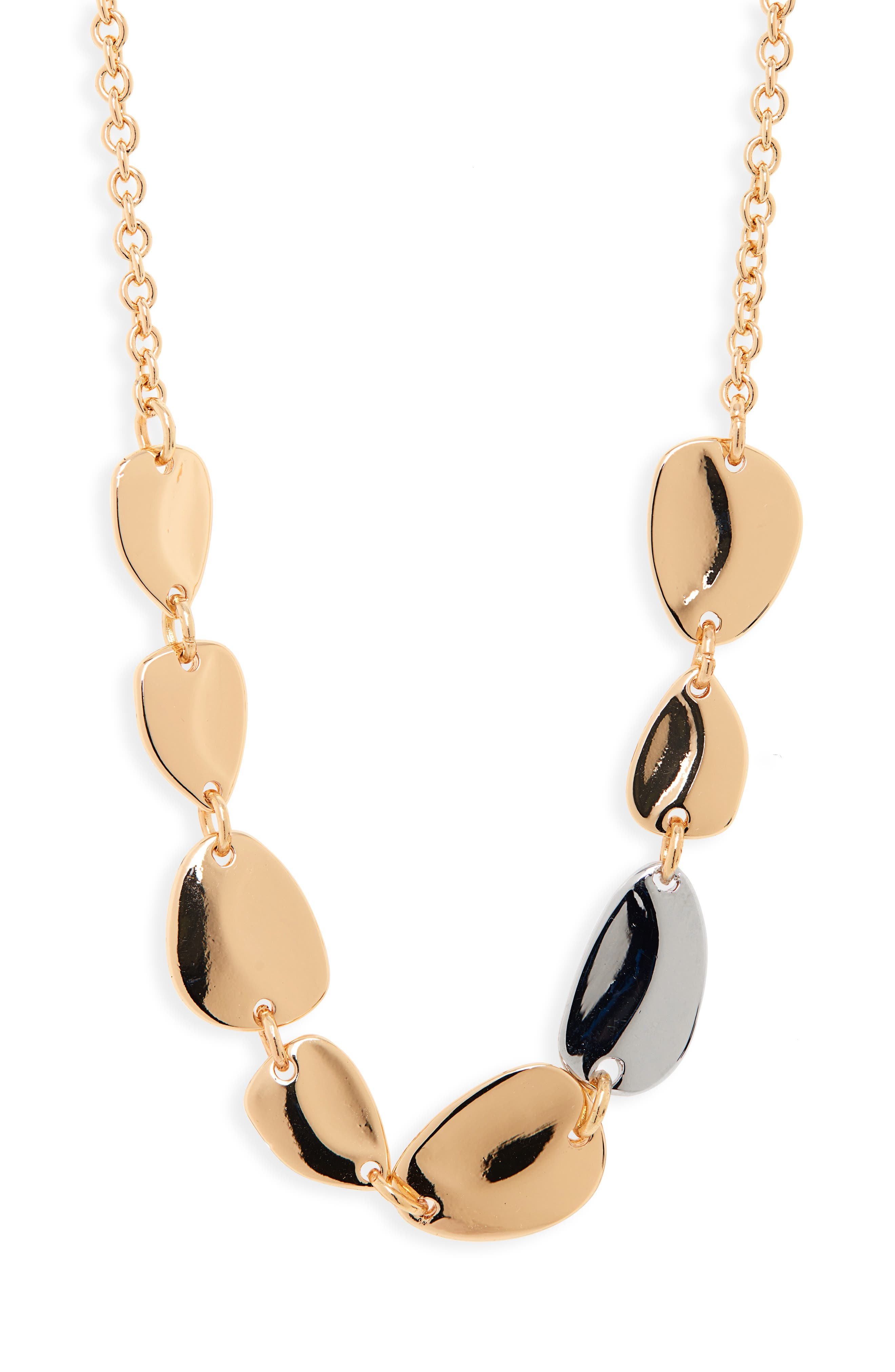 HALOGEN<SUP>®</SUP>, Two-Tone Disc Collar Necklace, Main thumbnail 1, color, GOLD- RHODIUM