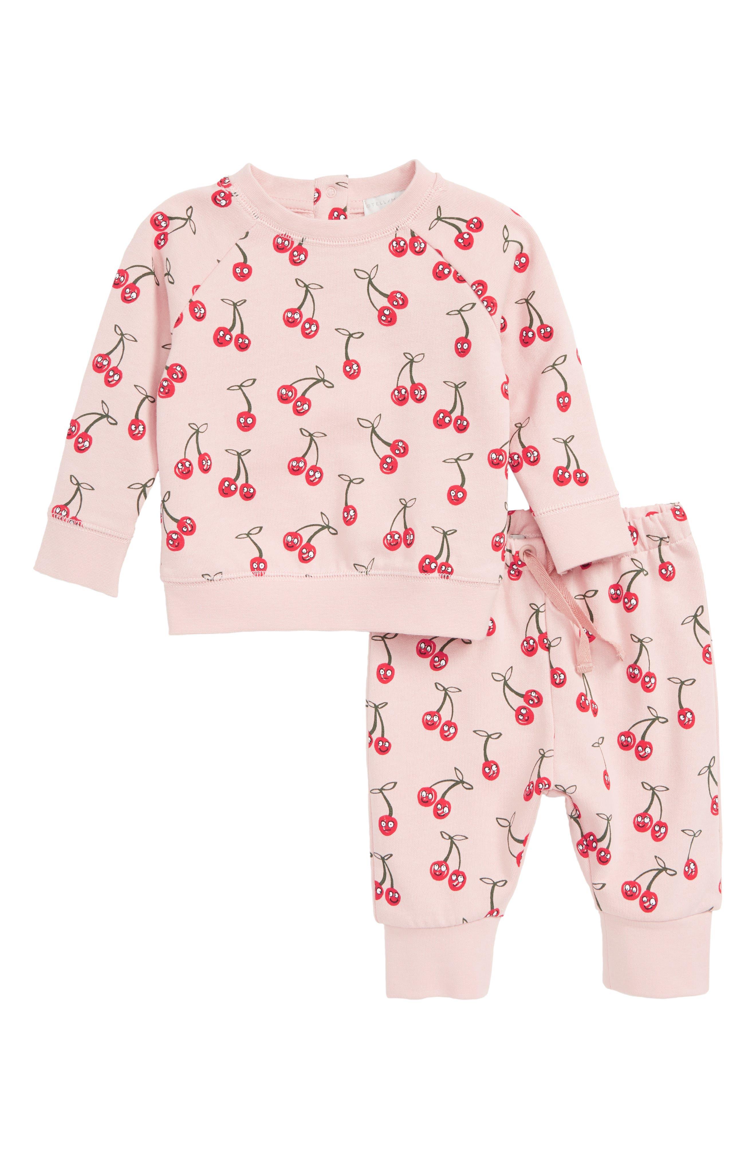 STELLA MCCARTNEY KIDS, Cherries Sweatshirt & Sweatpants Set, Main thumbnail 1, color, 5771 PINK