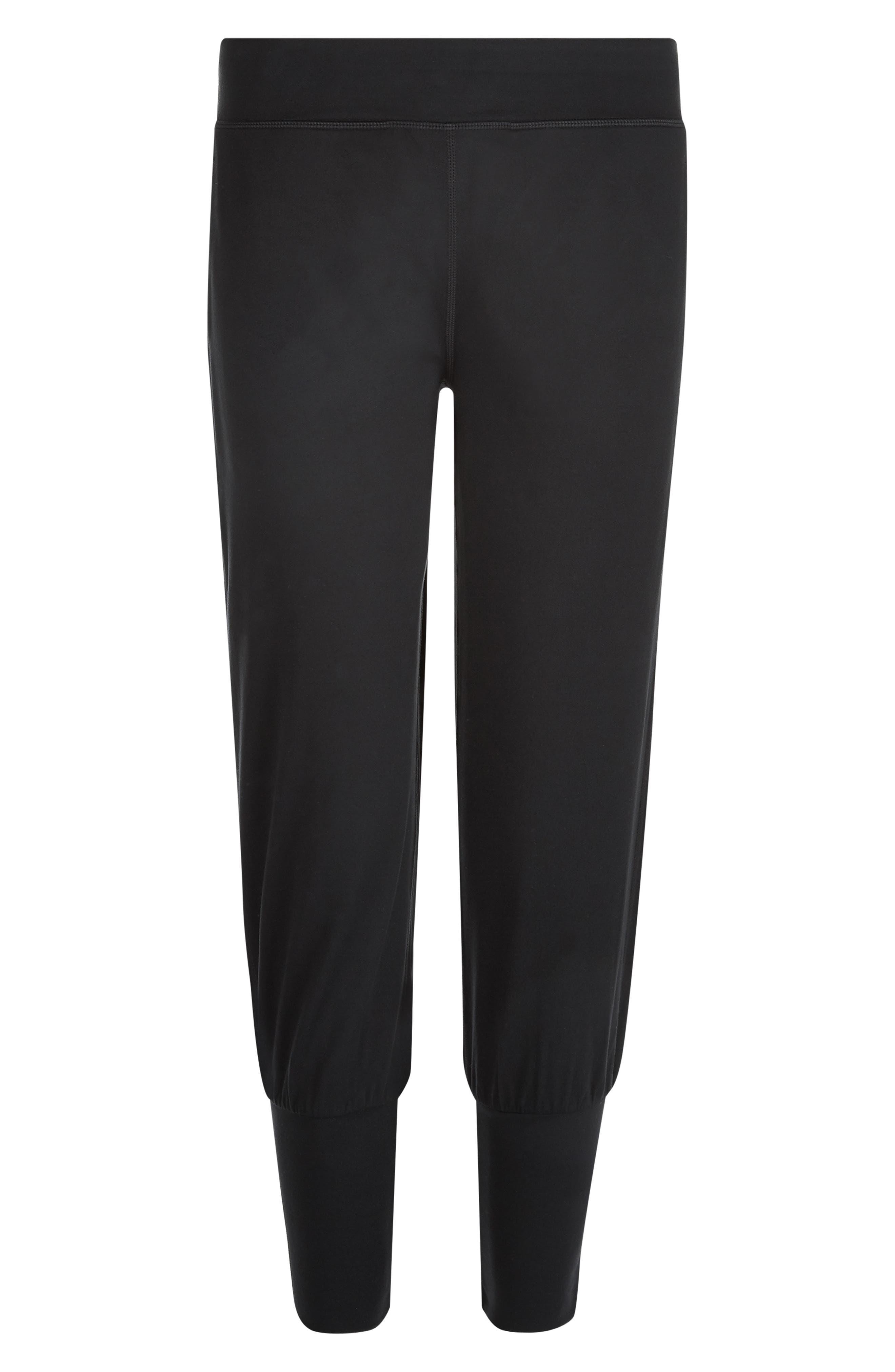 SWEATY BETTY, Garudasana Crop Yoga Trousers, Alternate thumbnail 7, color, BLACK