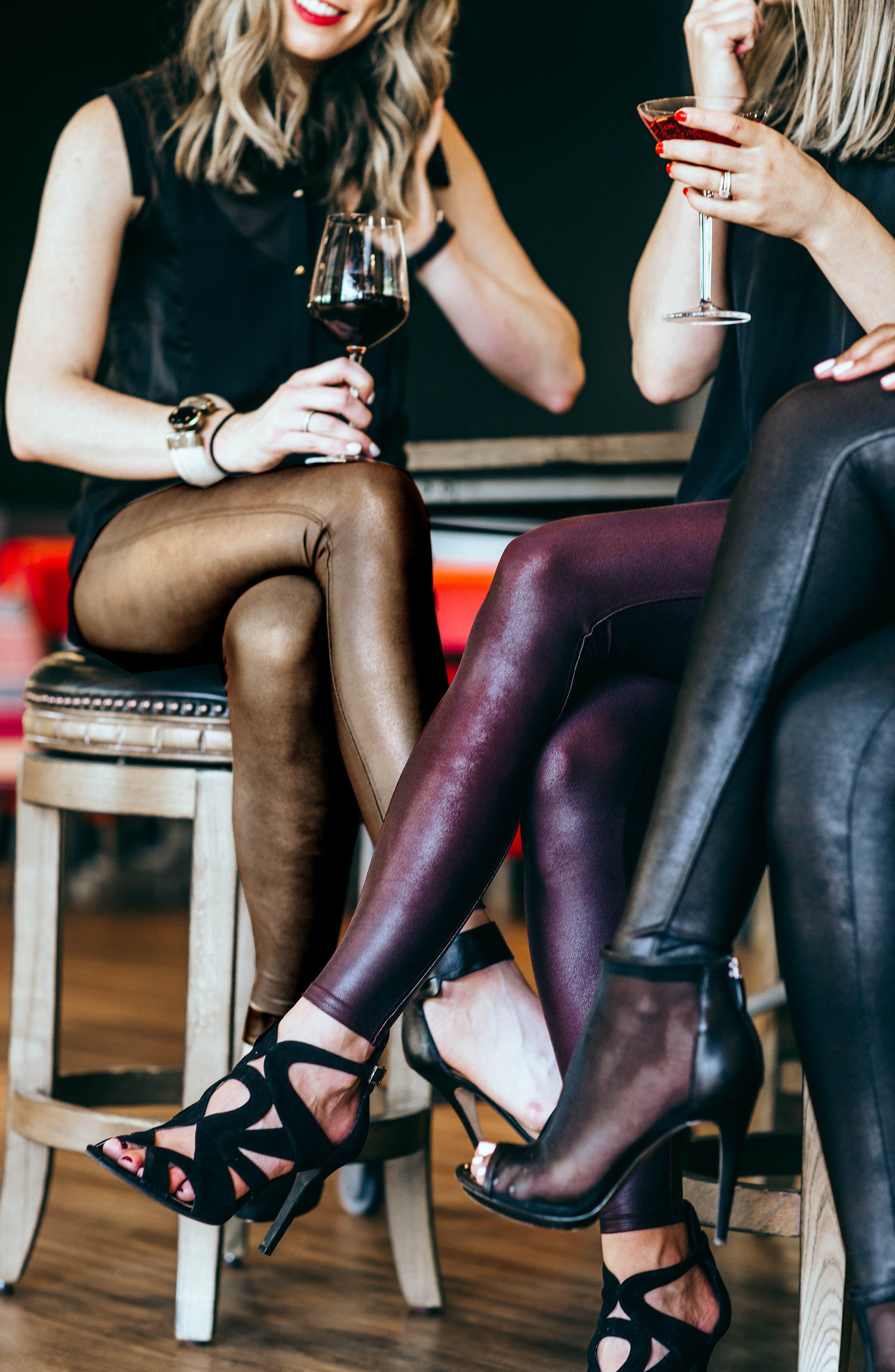 SPANX<SUP>®</SUP>, Faux Leather Leggings, Alternate thumbnail 11, color, BLACK