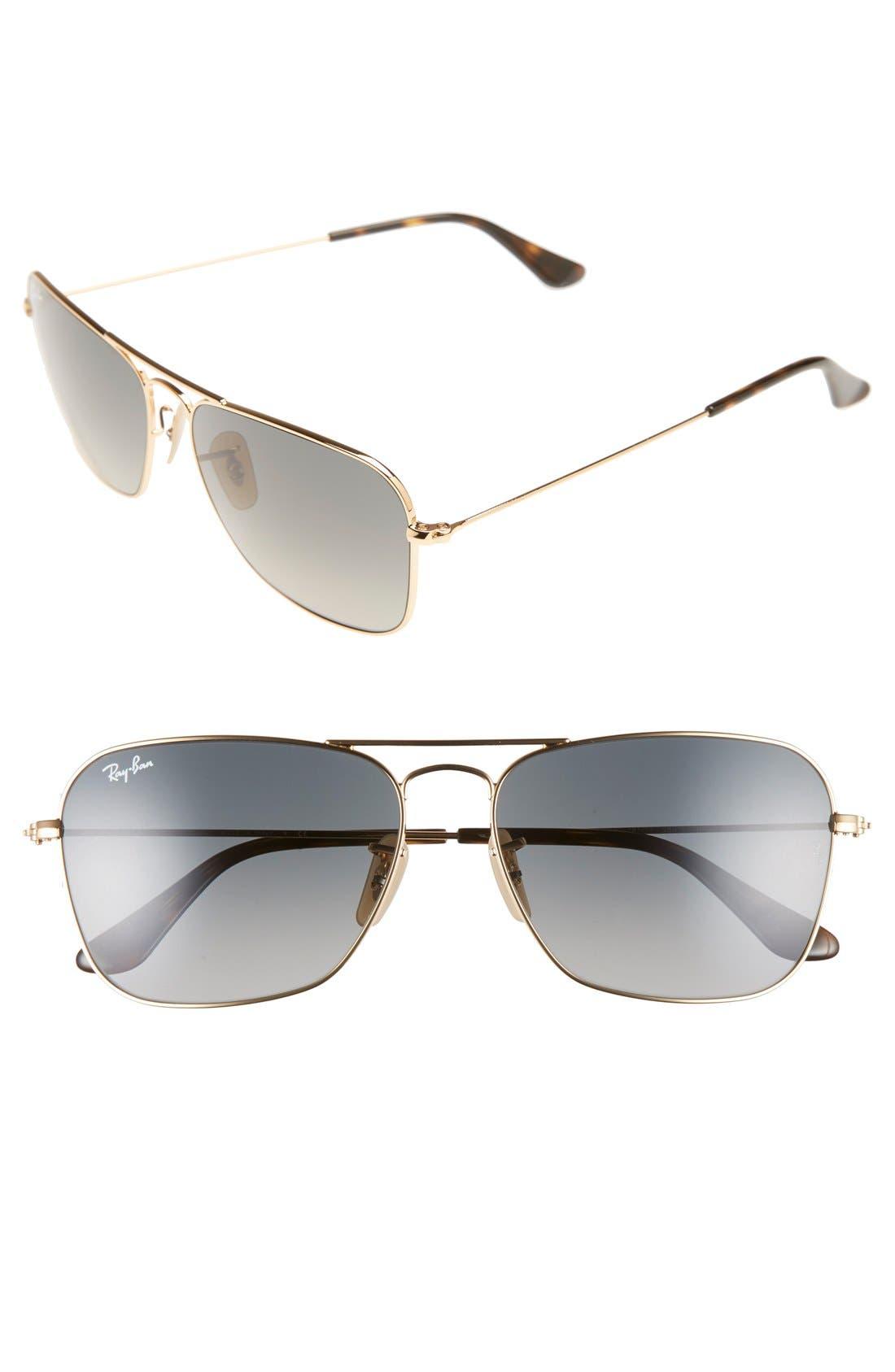 RAY-BAN, Caravan 58mm Aviator Sunglasses, Main thumbnail 1, color, GOLD/ GREY GRADIENT