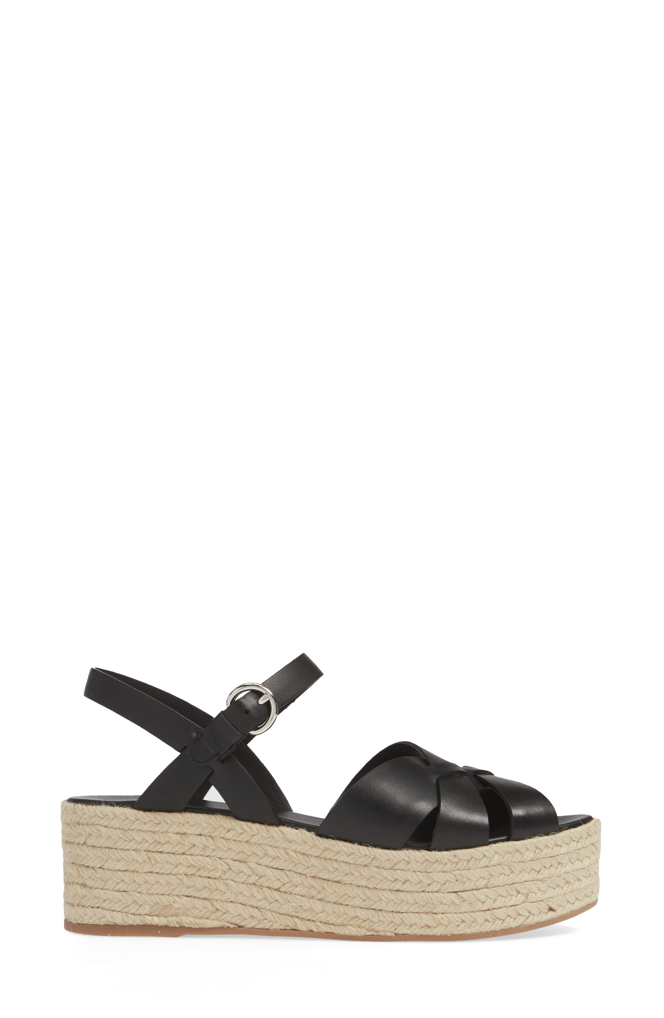 PRADA, Platform Espadrille Sandal, Alternate thumbnail 3, color, BLACK
