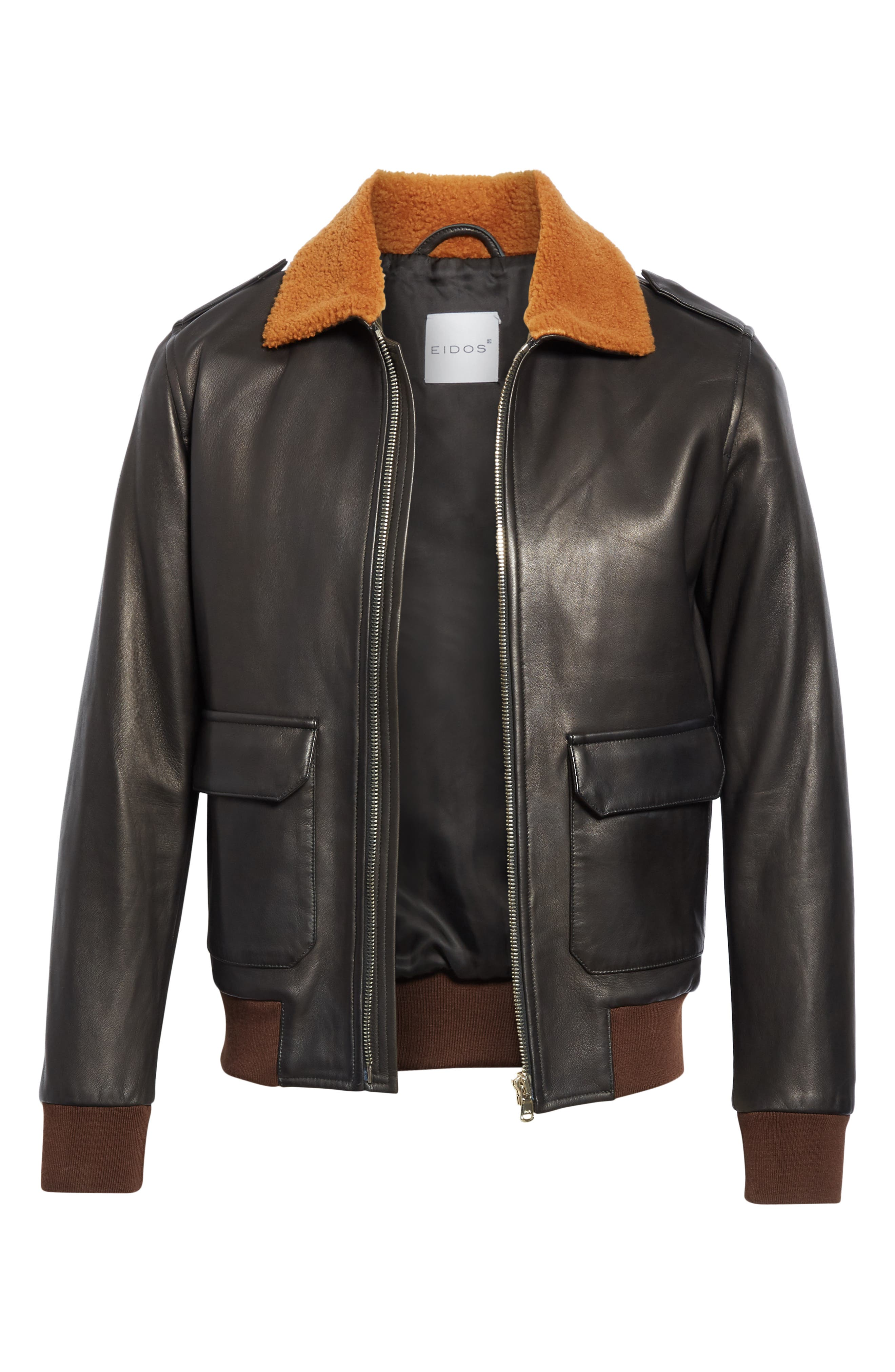 EIDOS, Genuine Shearling Collar Leather Bomber Jacket, Alternate thumbnail 6, color, BLACK