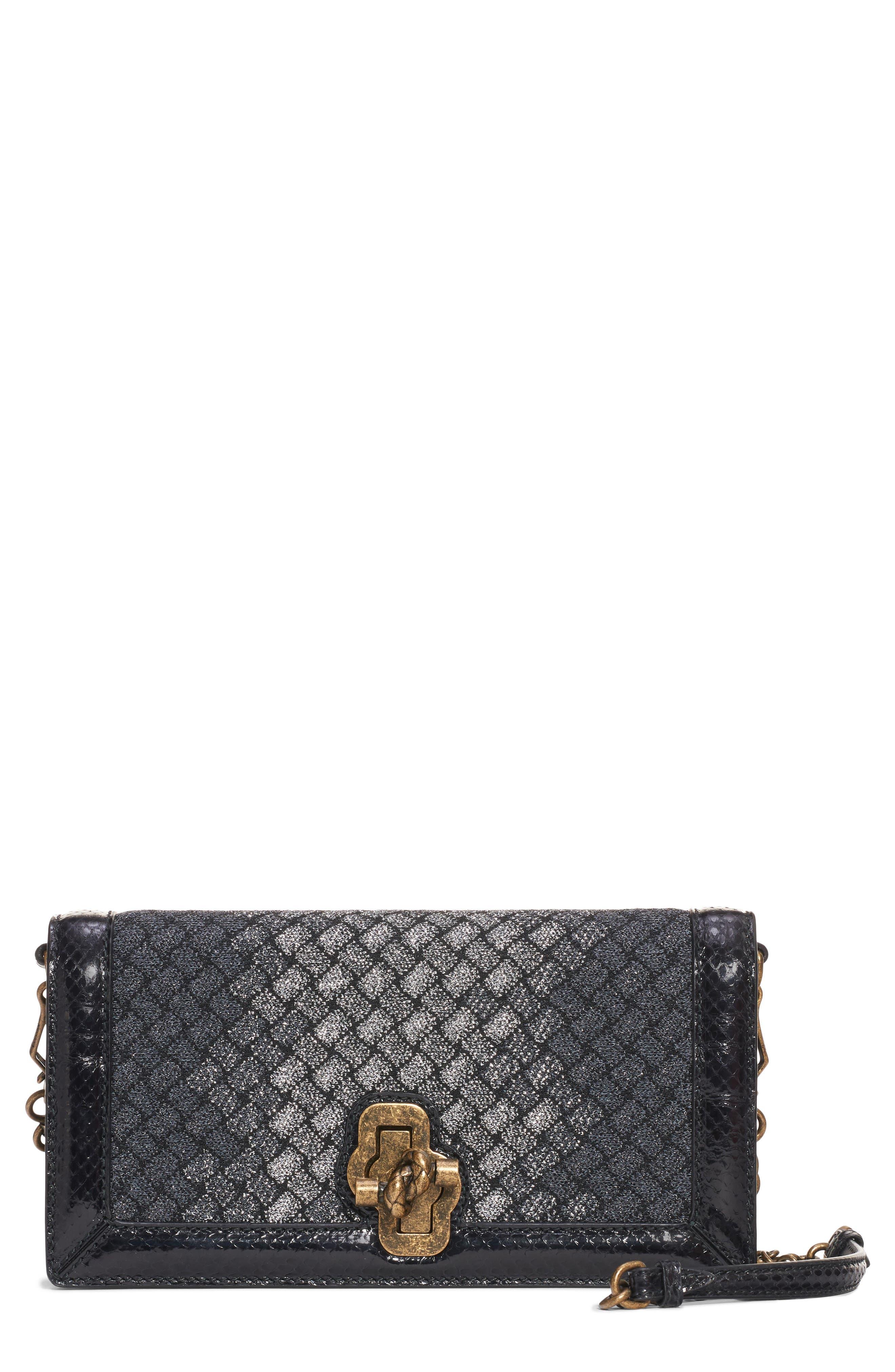 BOTTEGA VENETA Intrecciato Knit & Genuine Snakeskin Clutch, Main, color, 047