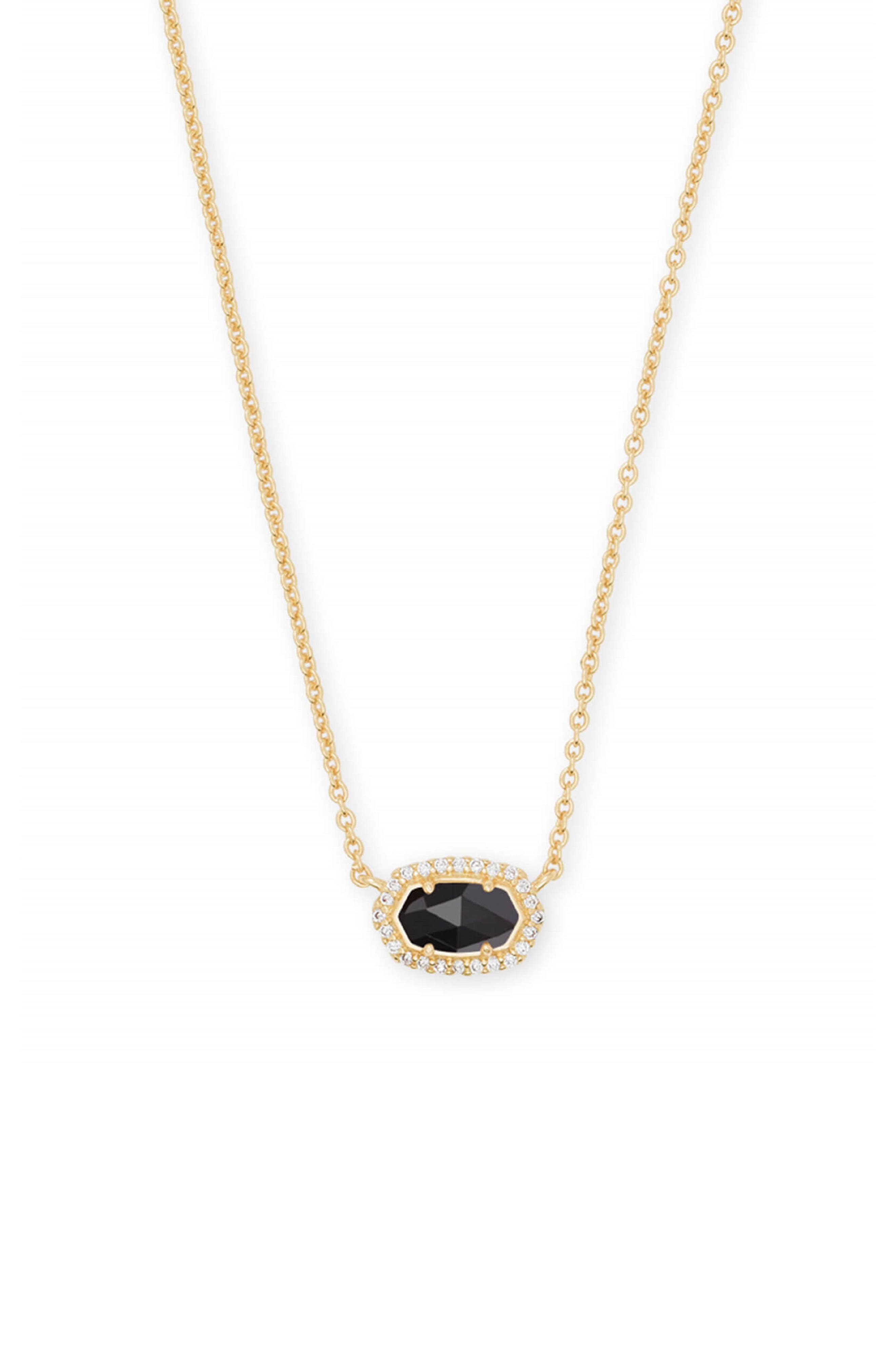 KENDRA SCOTT Chelsea Pendant Necklace, Main, color, BLACK/ GOLD