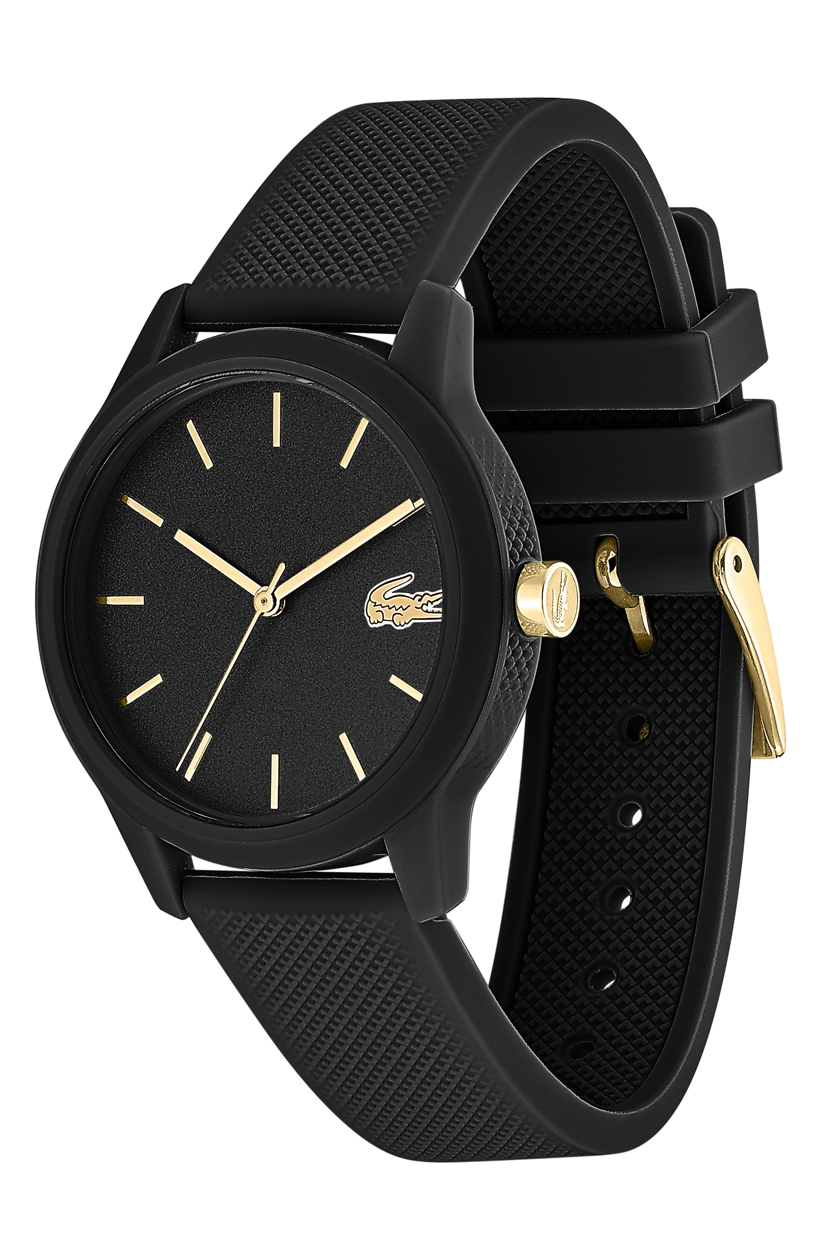 LACOSTE, 12.12 Silicone Strap Watch, 36mm, Alternate thumbnail 3, color, BLACK